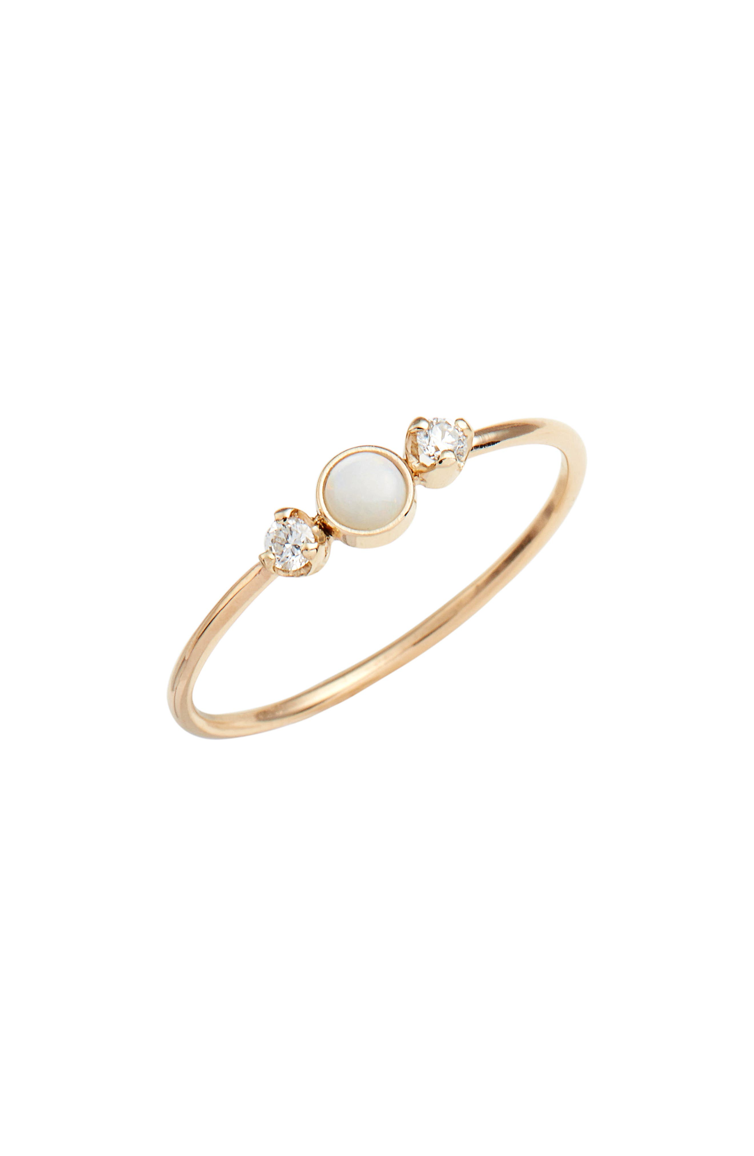 Diamond & Opal Cluster Ring,                         Main,                         color, Yellow Gold