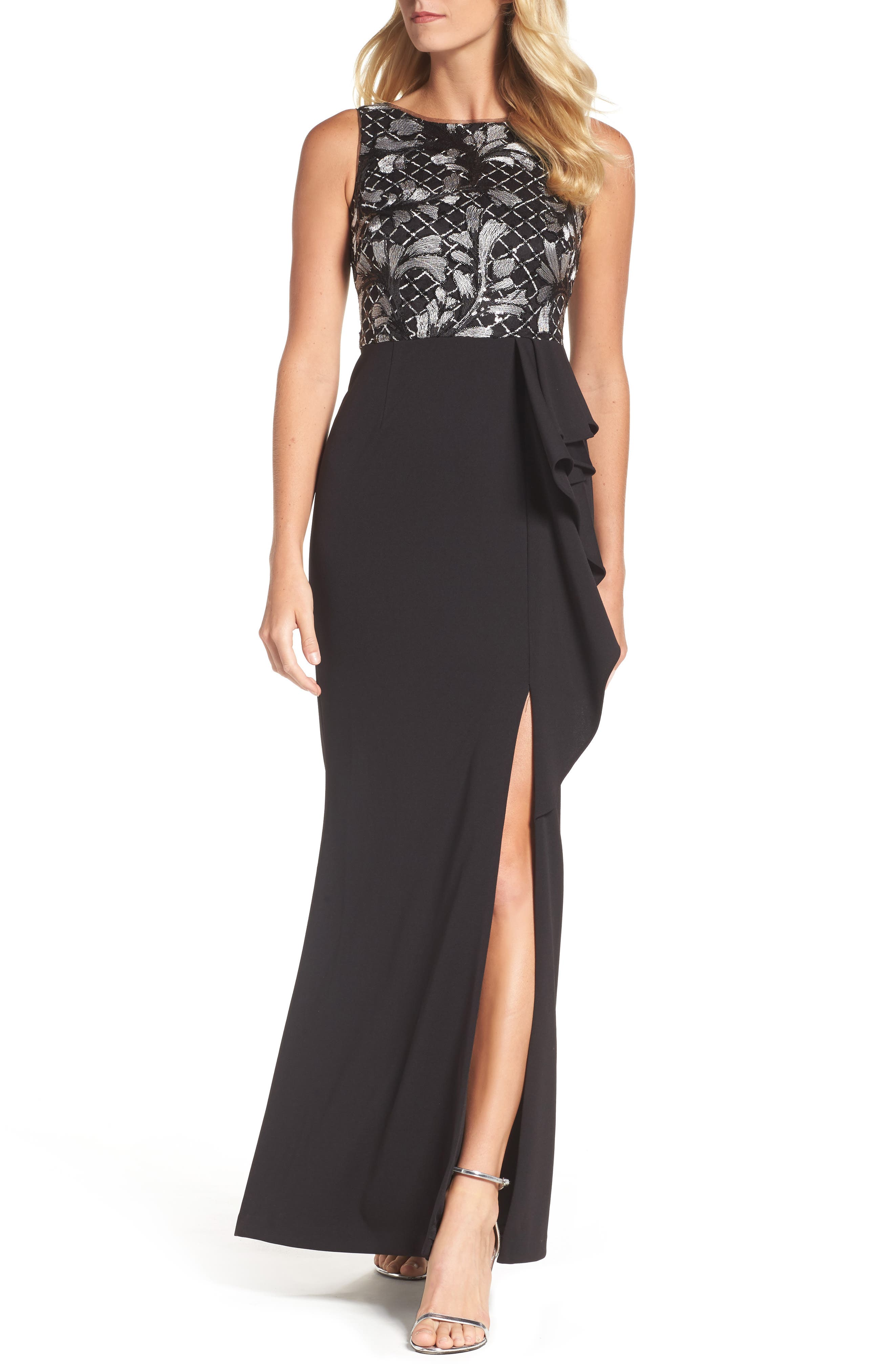 Embroidered Bodice Gown,                         Main,                         color, Black/ Ivory