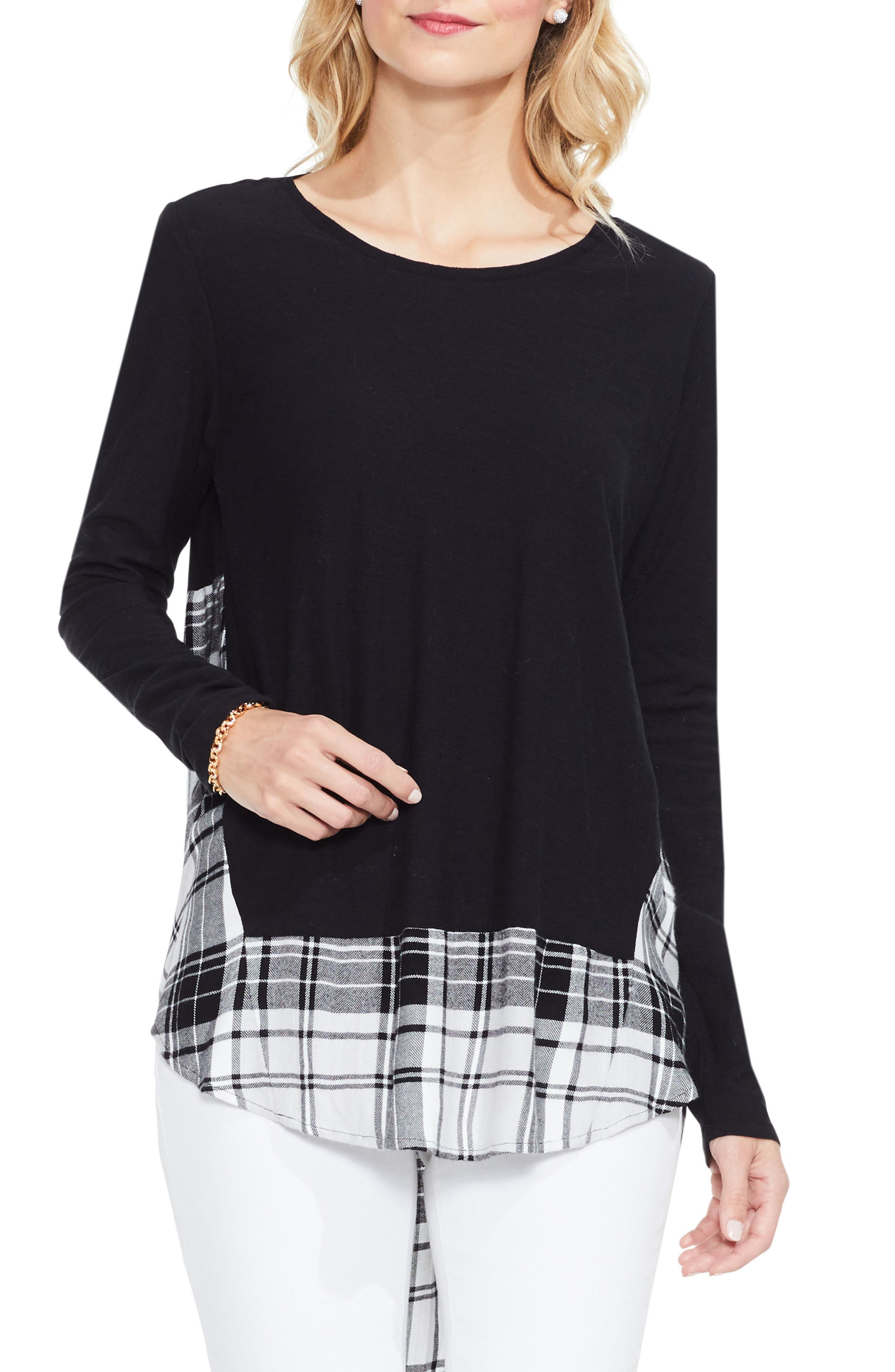 Alternate Image 1 Selected - Two by Vince Camuto Solid & Plaid Top