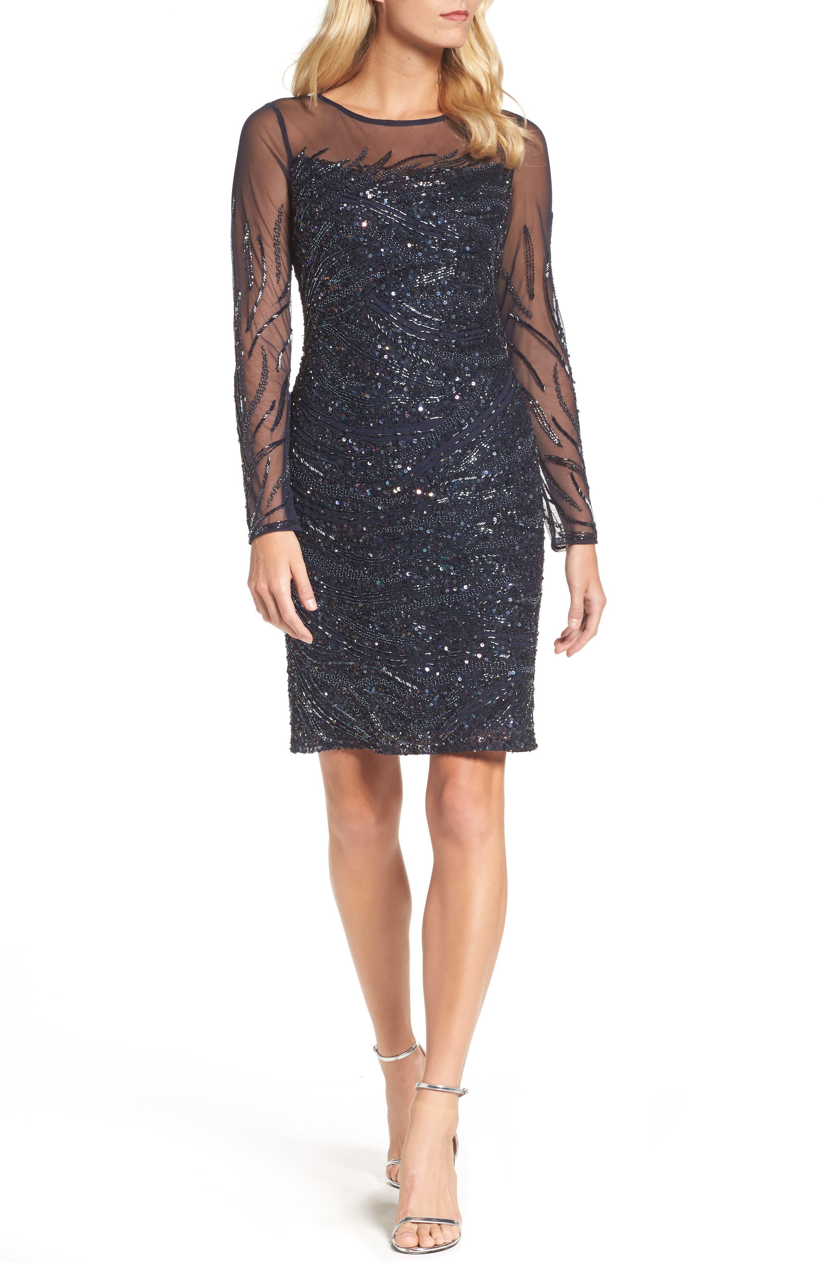 Beaded Illusion Sheath Dress,                         Main,                         color, Navy