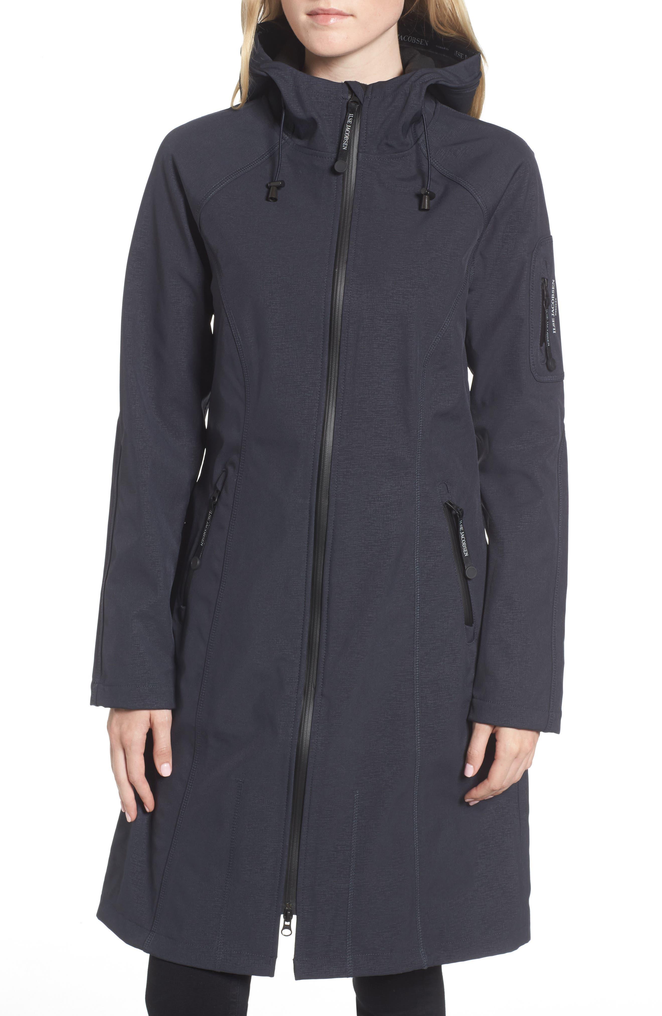 Long Hooded Raincoat,                             Alternate thumbnail 4, color,                             Indigo