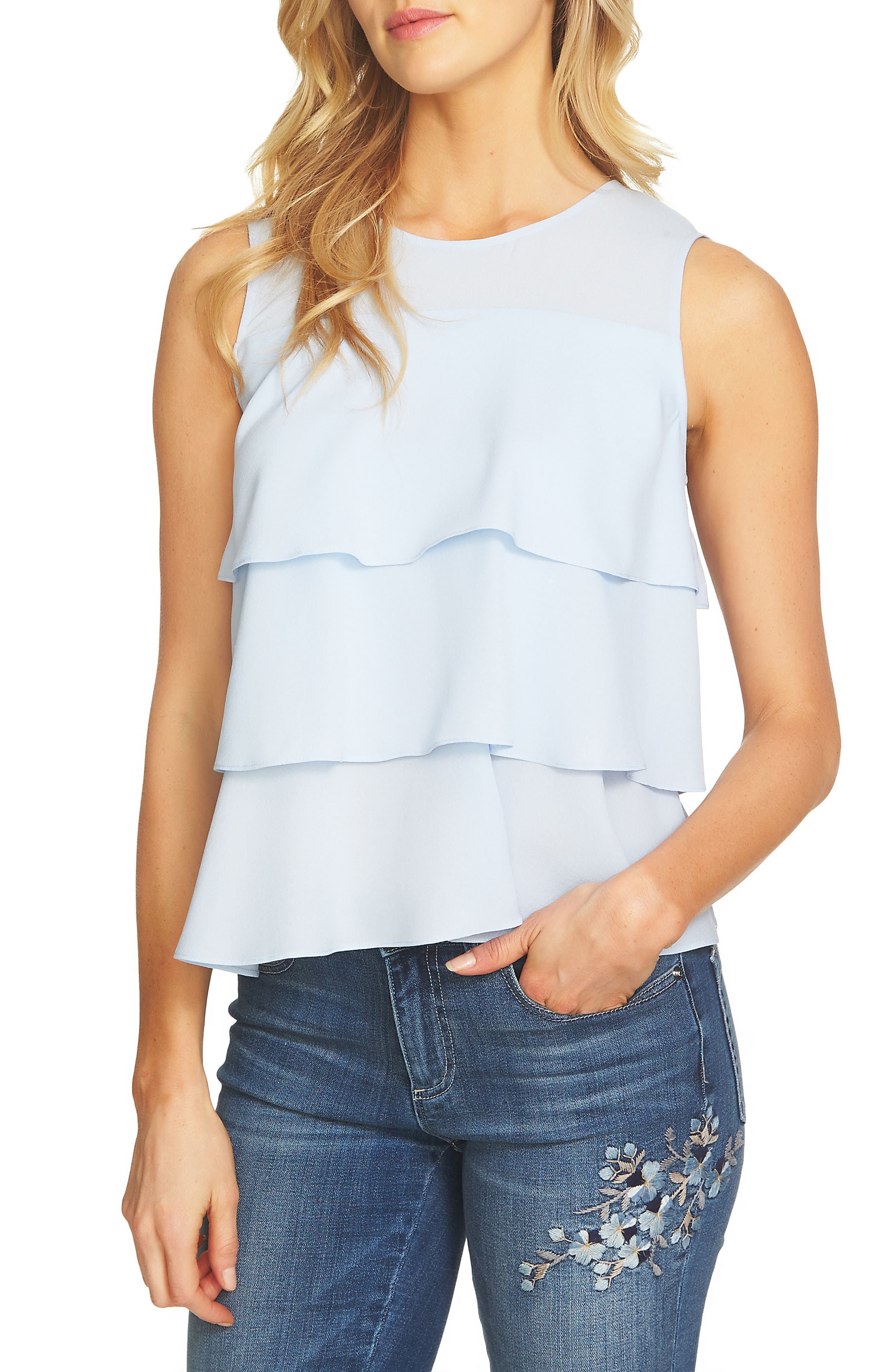 Tiered Ruffle Crepe Top,                             Main thumbnail 1, color,                             Ocean Breeze