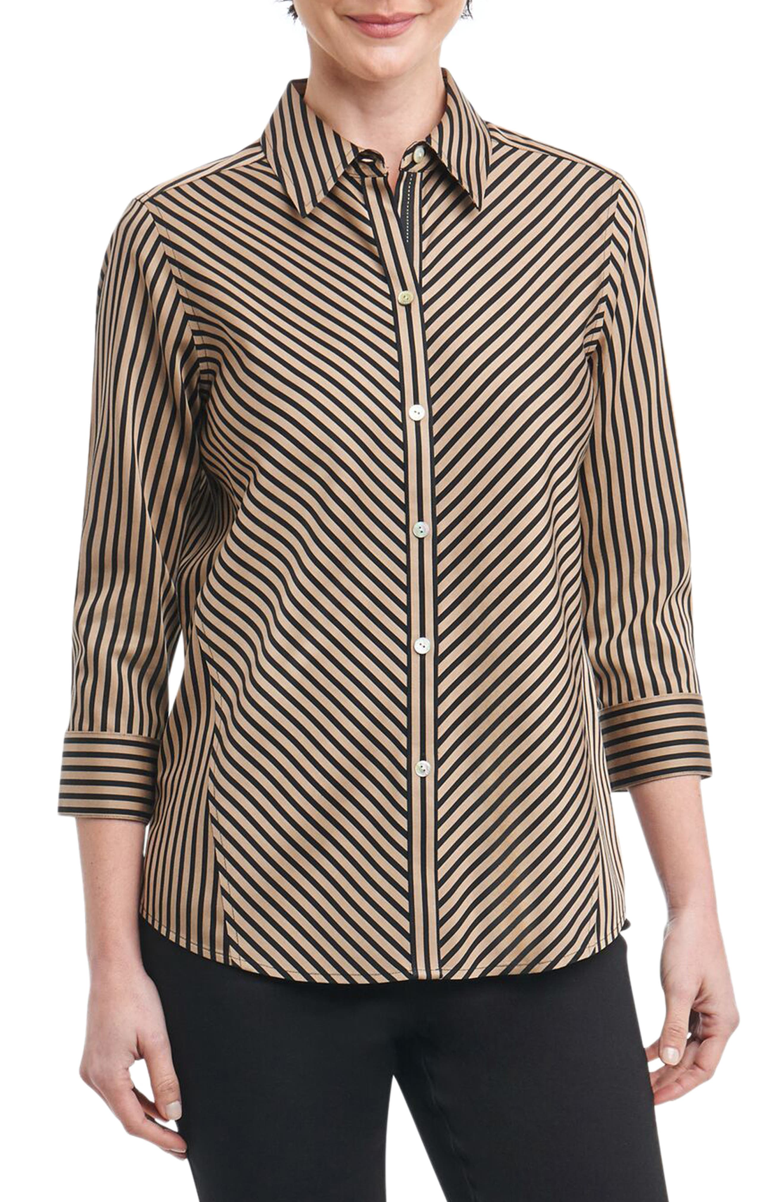 Foxcroft Fallon Satin Stripe Cotton Shirt (Regular & Petite)