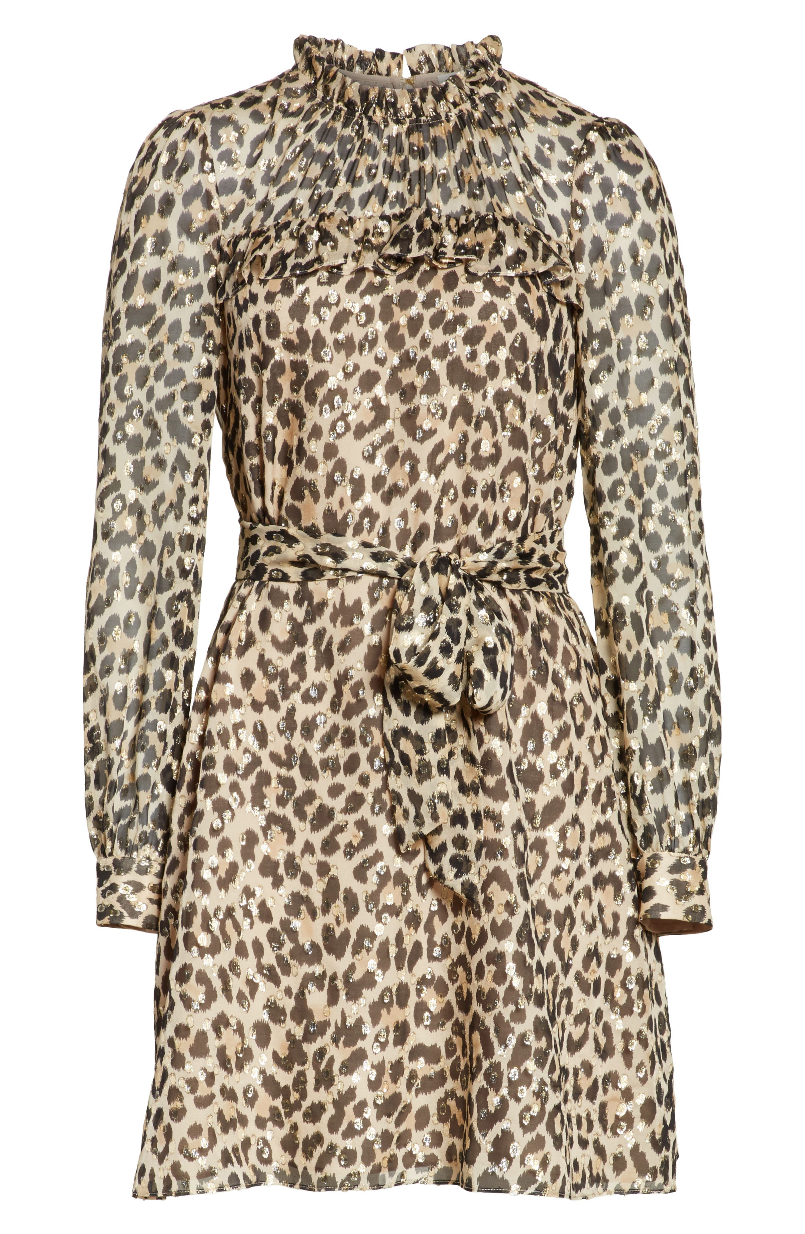 leopard clip dot minidress,                             Alternate thumbnail 6, color,                             Classic Camel