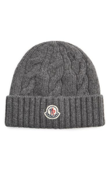 Moncler Men's Cable-knit Wool Beanie Hat In Grey