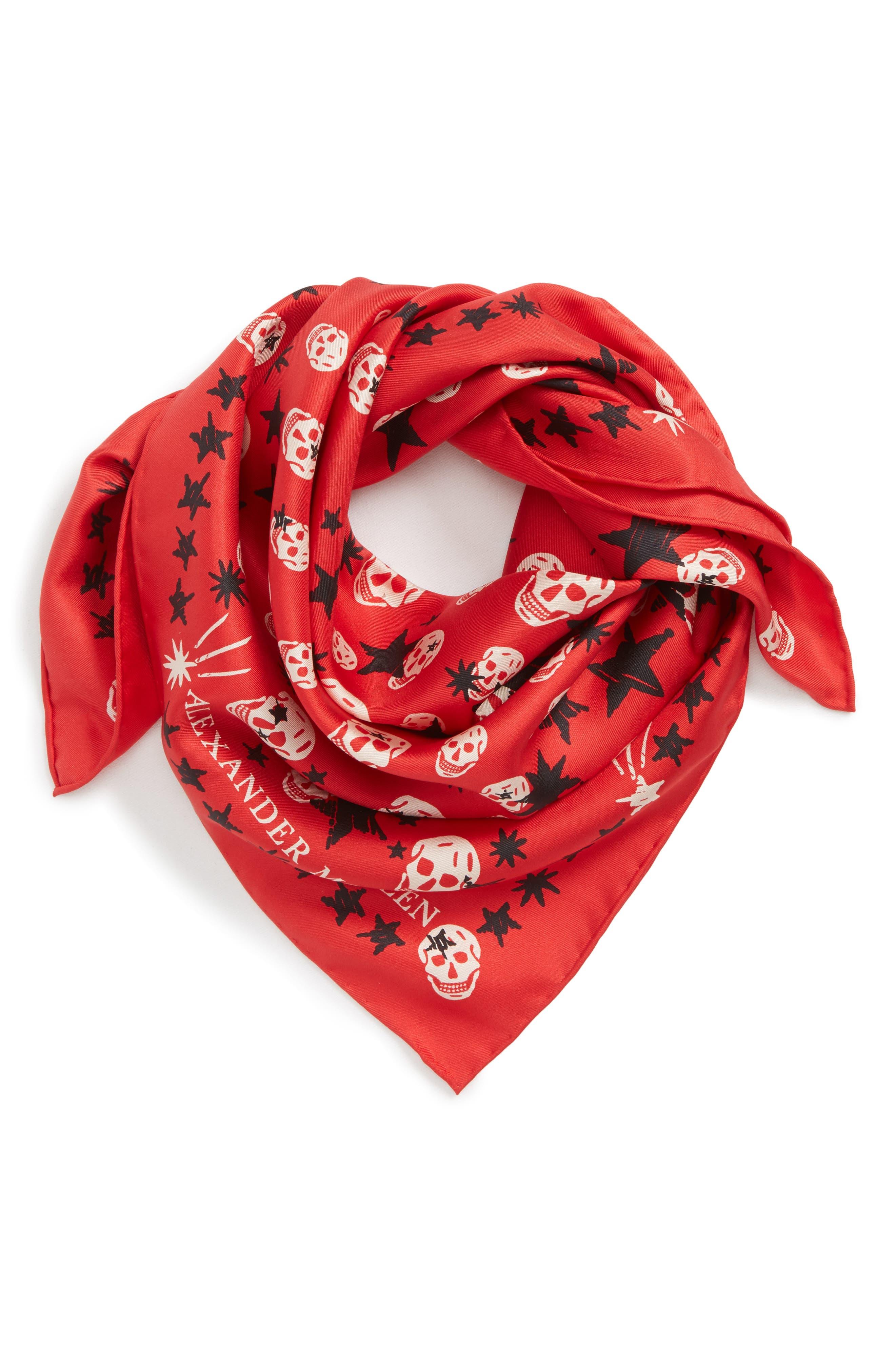 Starlight Skull Silk Bandana,                             Alternate thumbnail 2, color,                             Red/ Pink