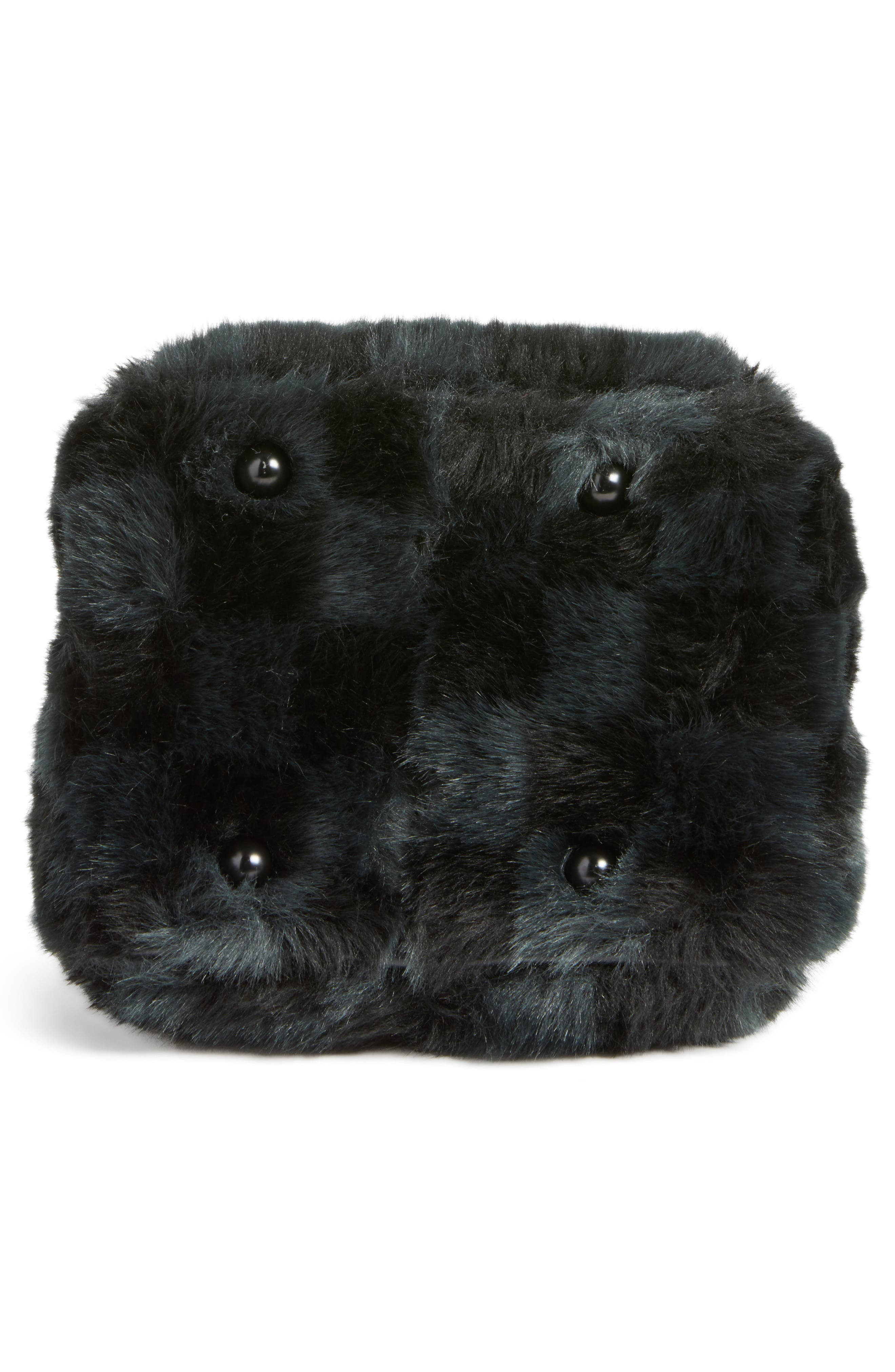 Faux Fur Bucket Bag,                             Alternate thumbnail 7, color,                             Black Checkered