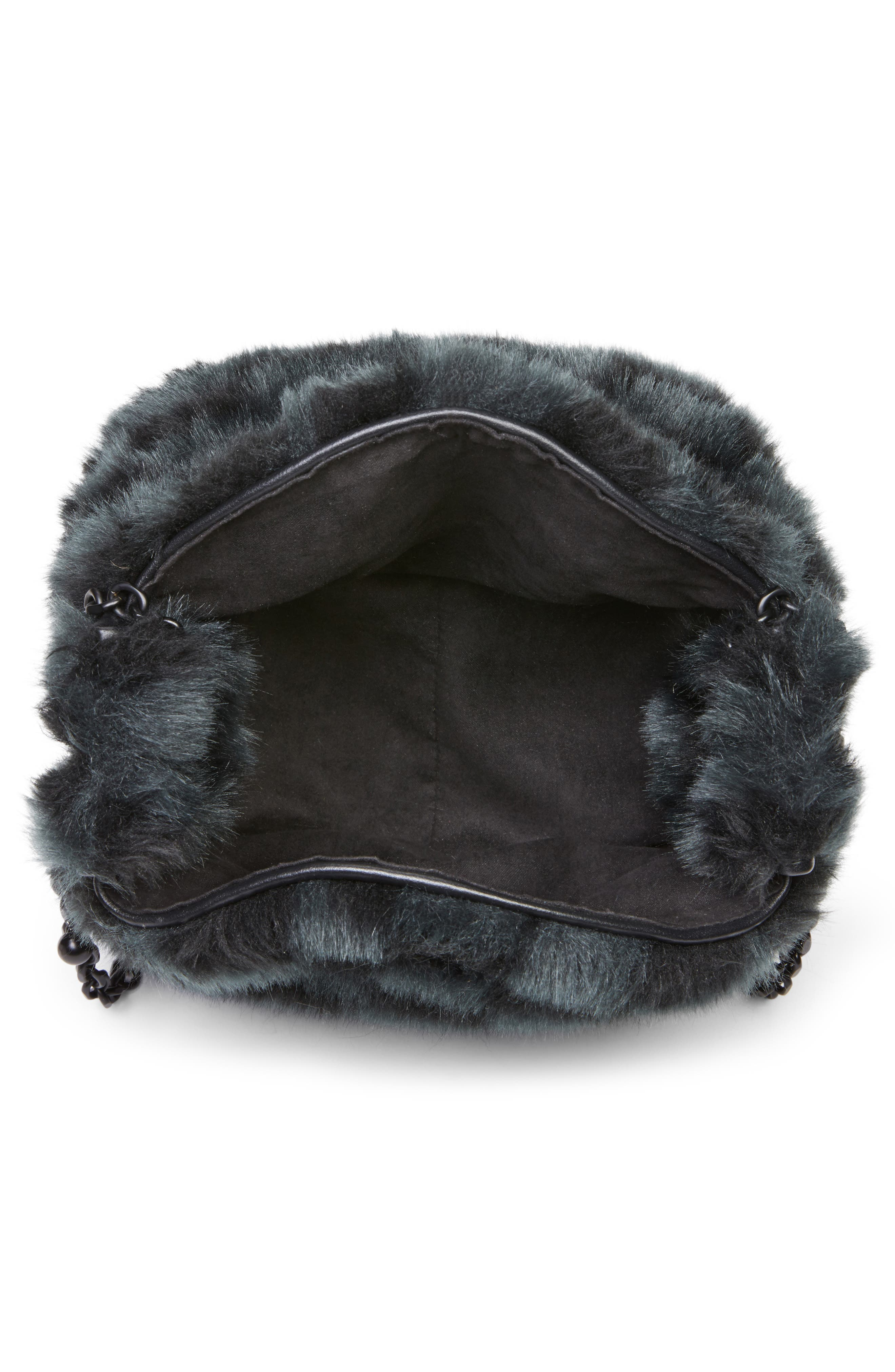 Faux Fur Bucket Bag,                             Alternate thumbnail 5, color,                             Black Checkered