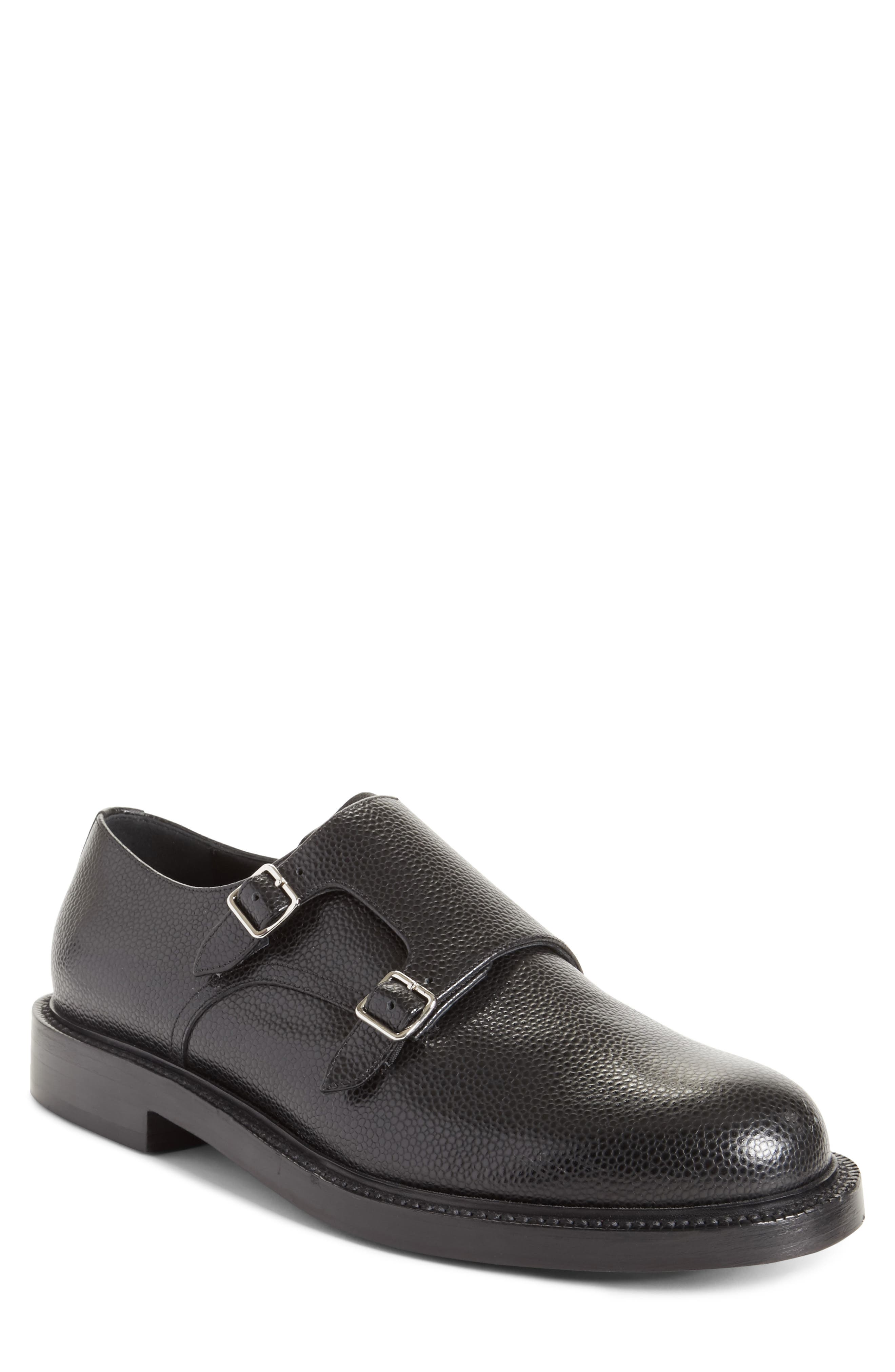 Hova Double Monk Strap Shoe,                             Main thumbnail 1, color,                             Black Leather