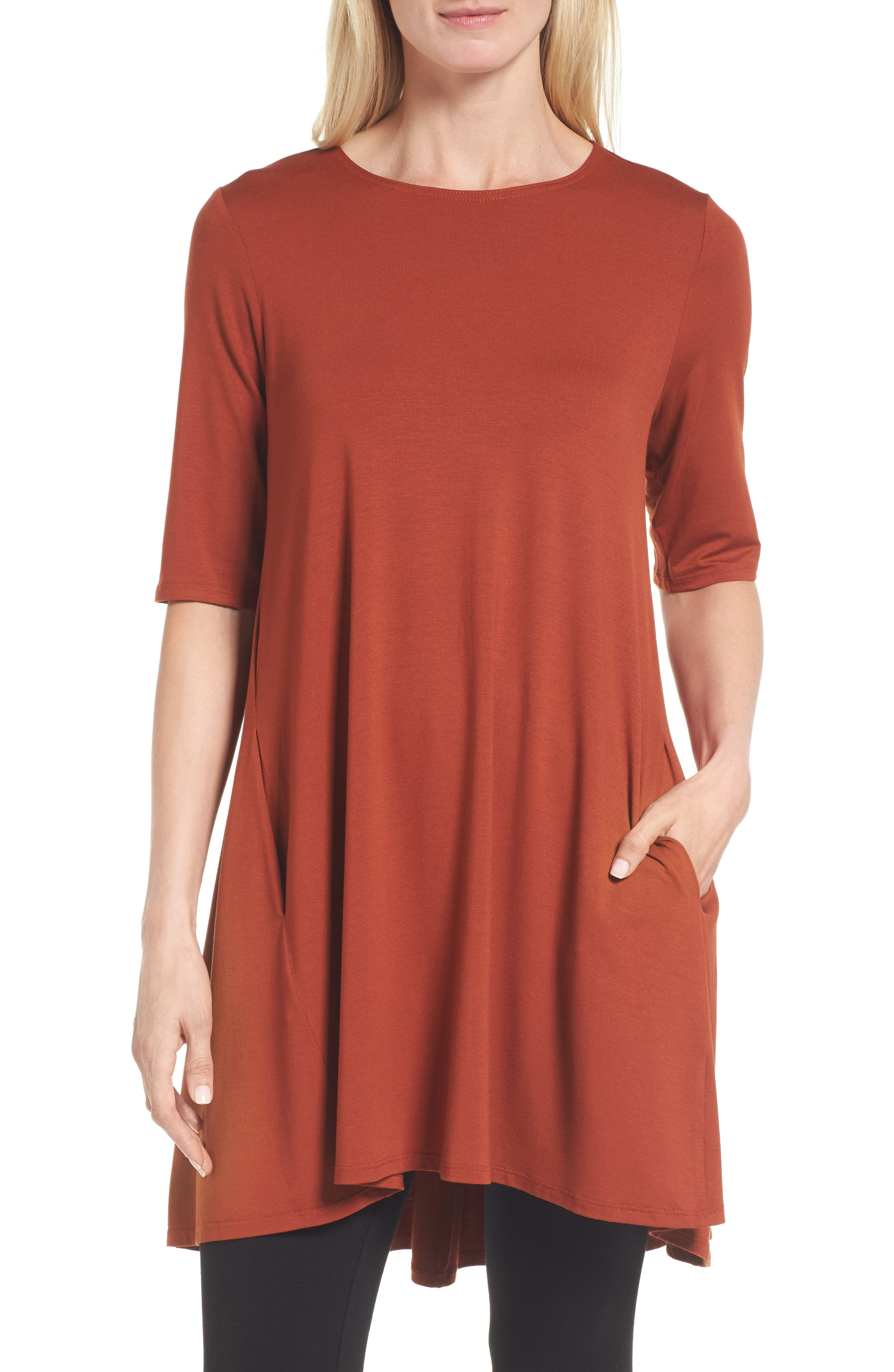 Eileen Fisher Lightweight Jersey Round Neck Tunic (Regular & Petite)