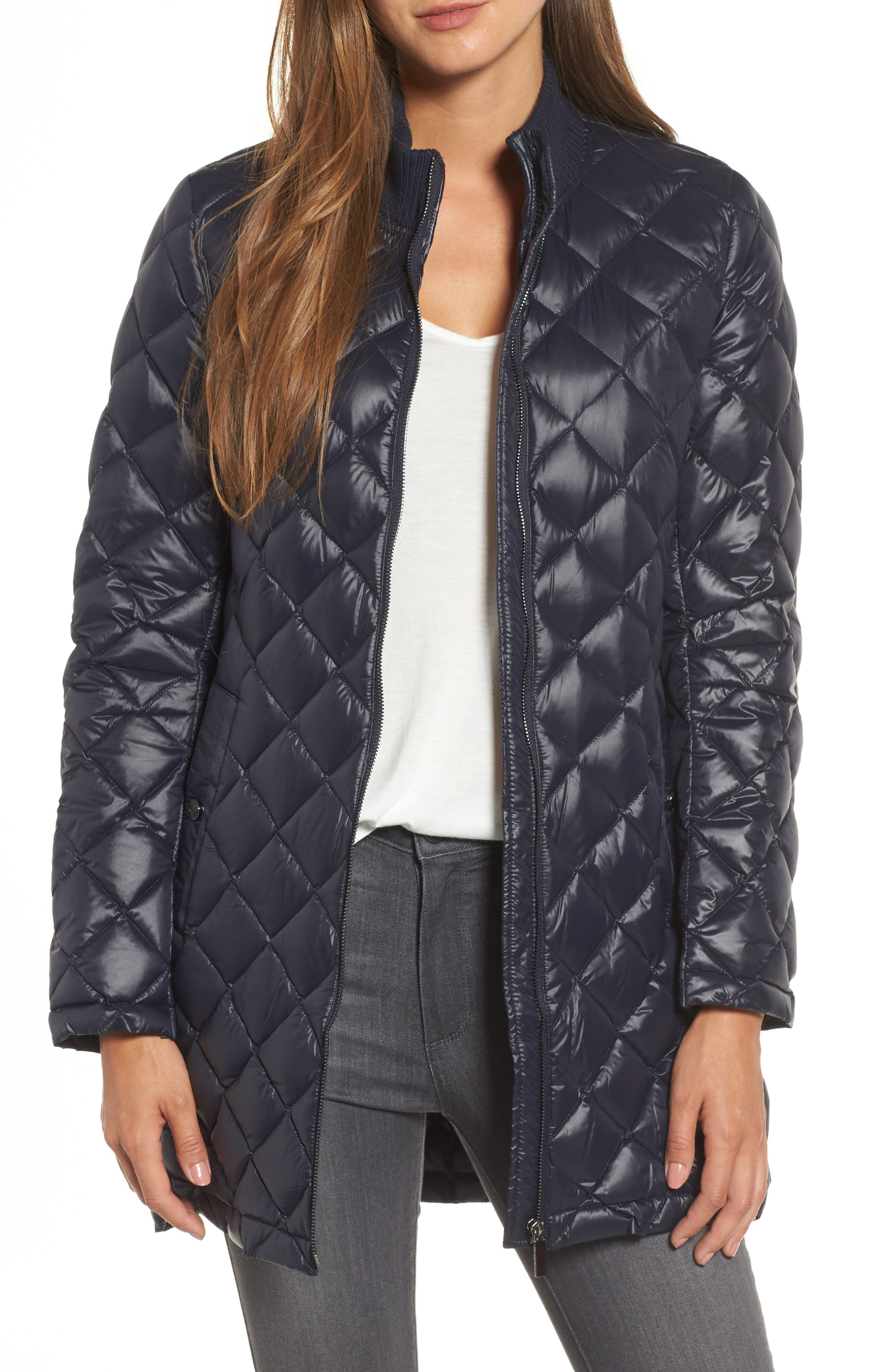 French Connection Quilted Front Zip Coat