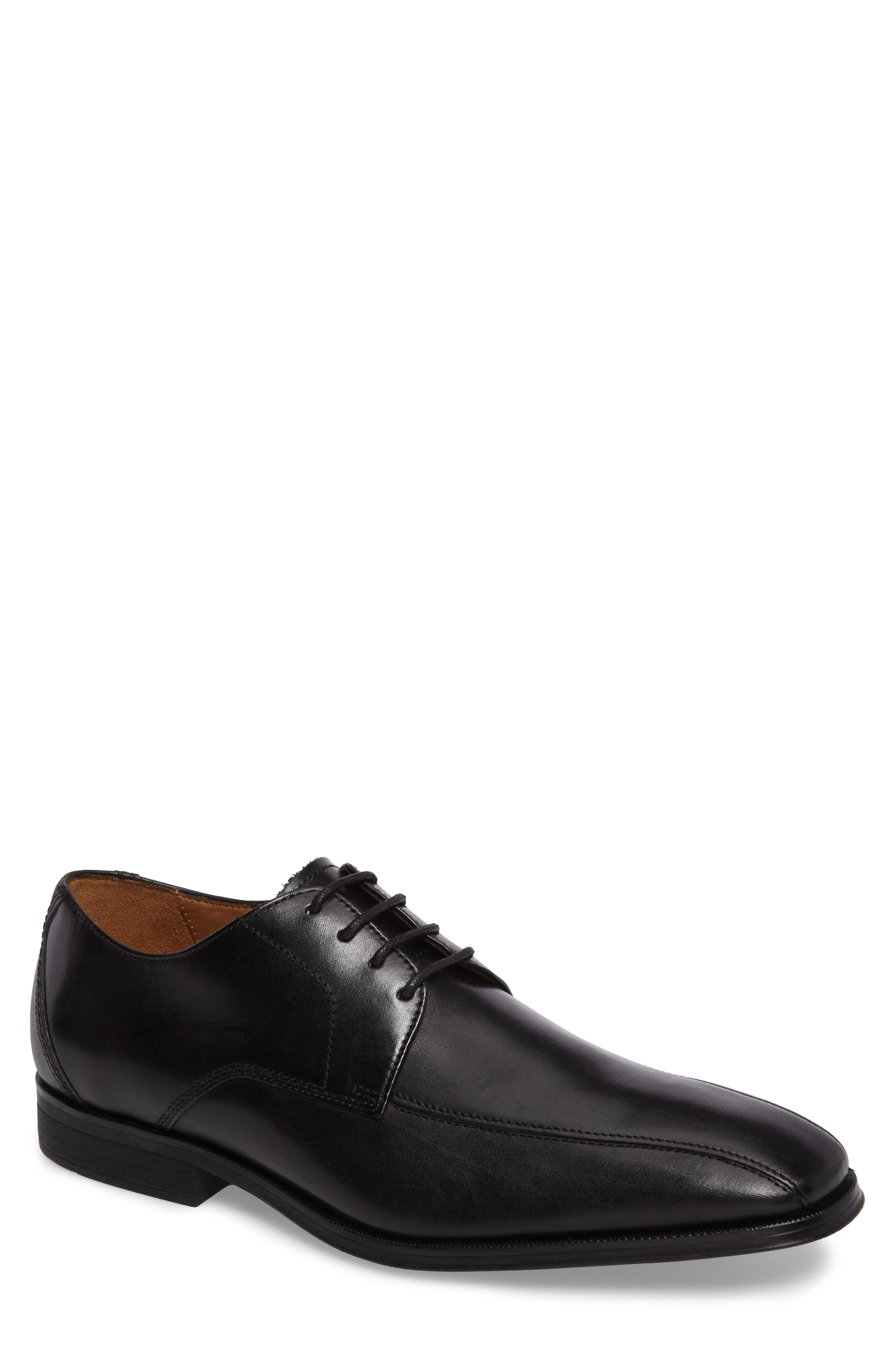 Clarks Gilman Bicycle Toe Derby,                         Main,                         color, Black Leather