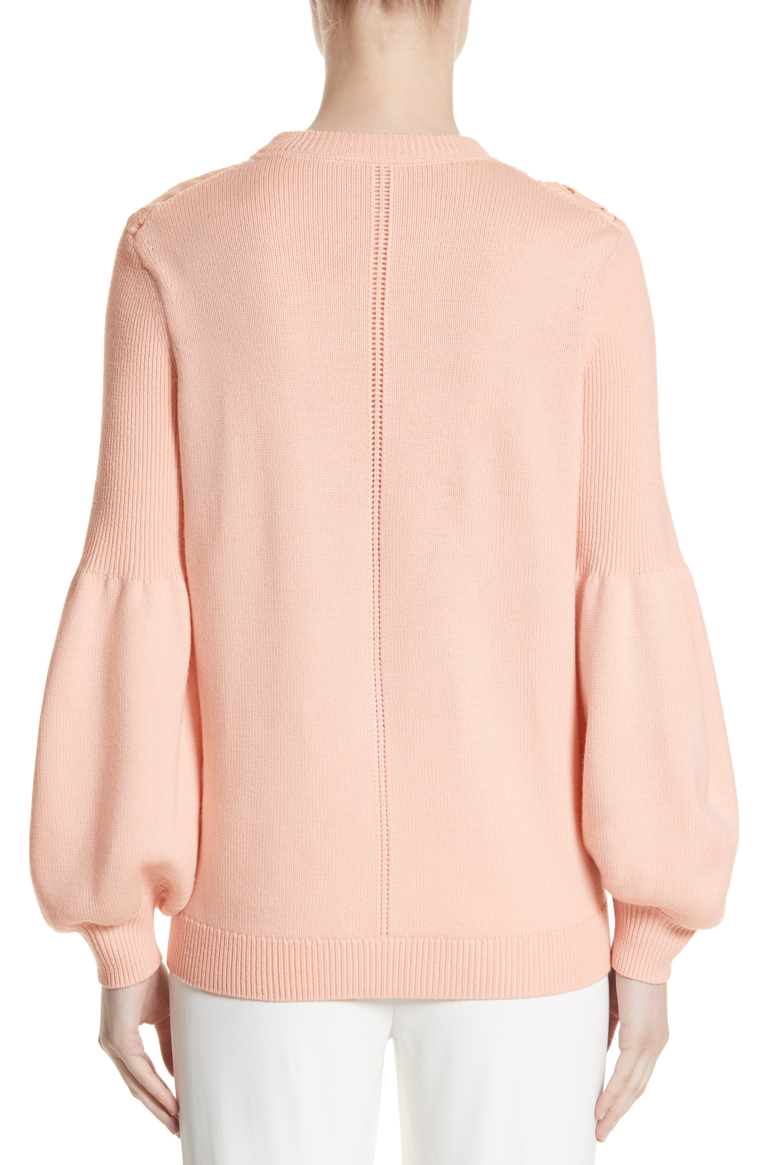 Lace Trim Puff Sleeve Sweater,                             Alternate thumbnail 2, color,                             Blush