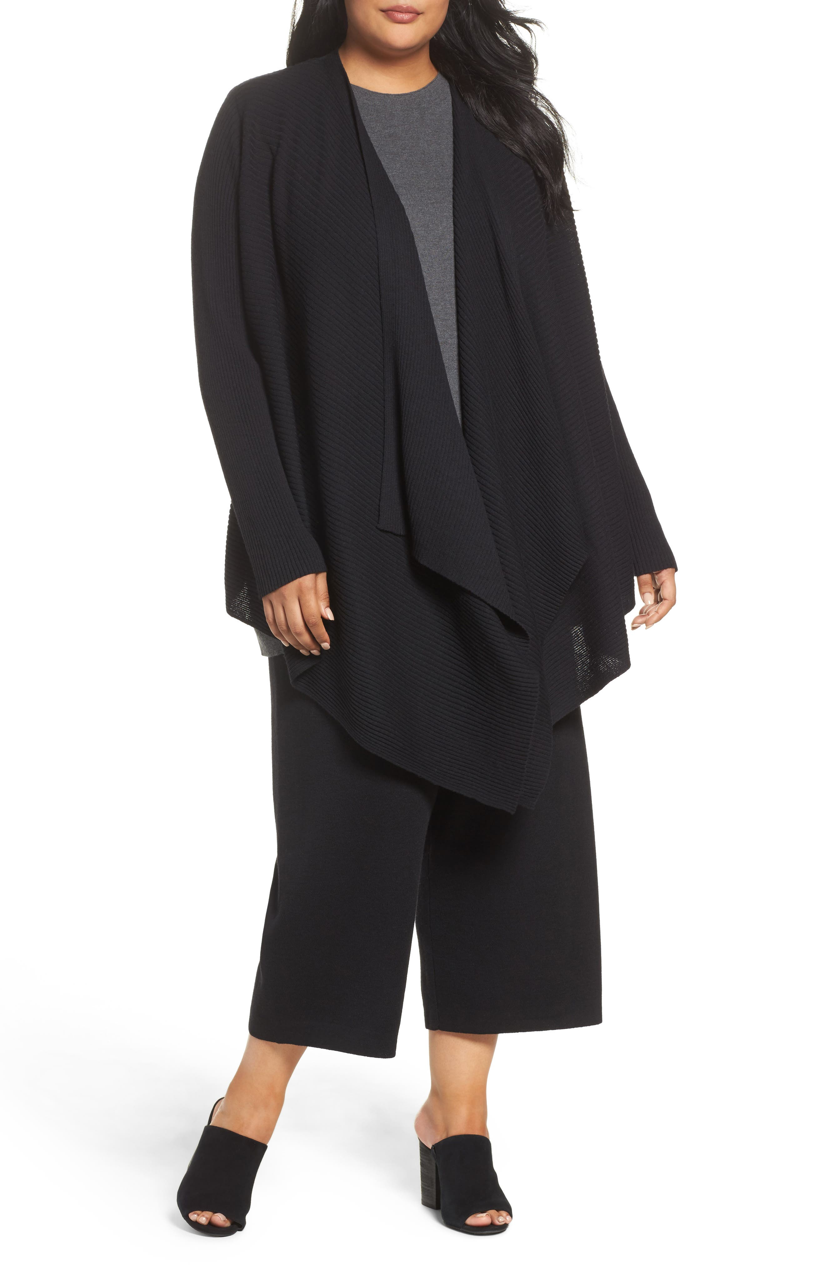 Eileen Fisher Angle Front Cardigan (Plus Size)