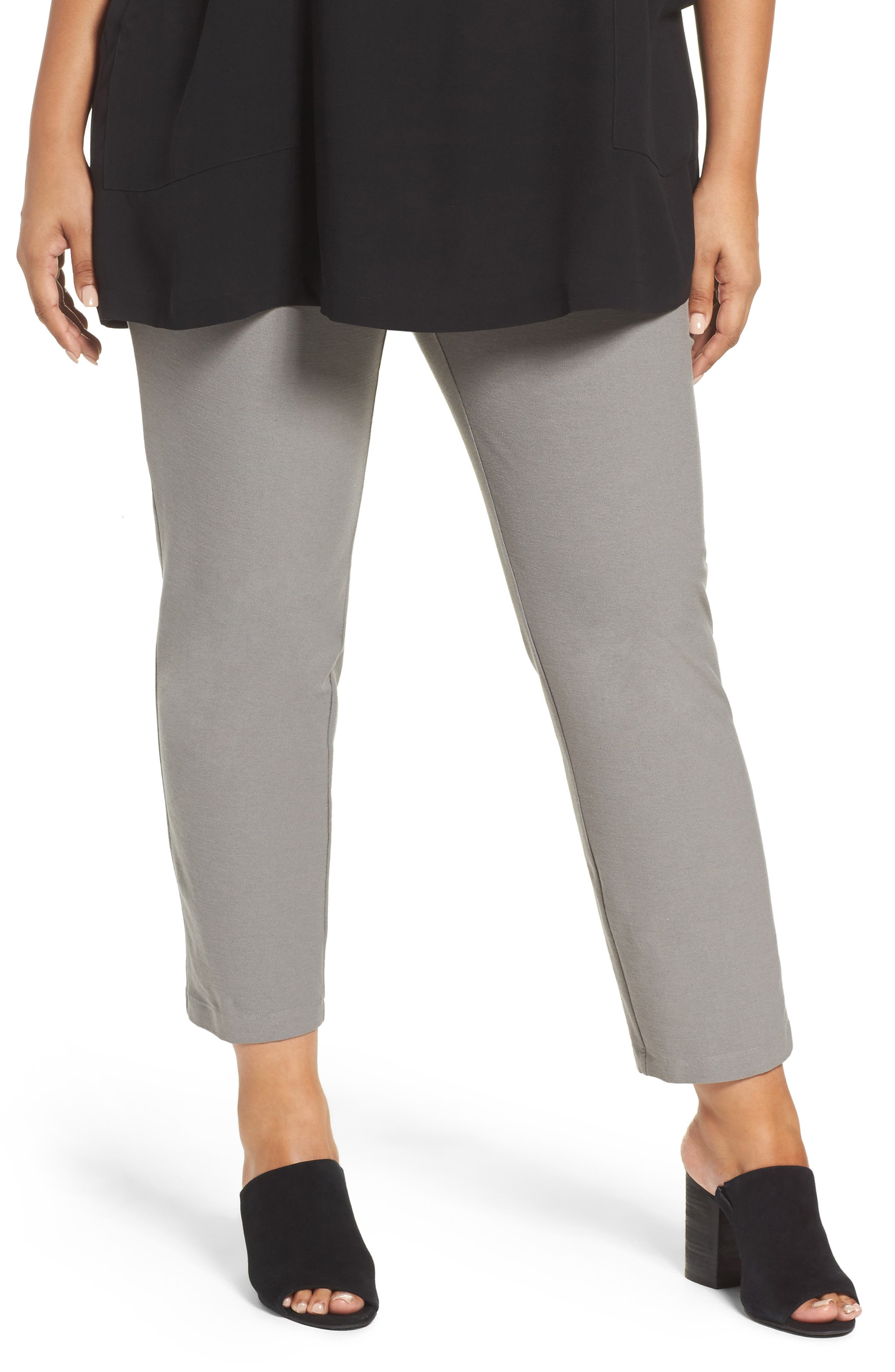 Main Image - Eileen Fisher Slim Washable Stretch Crepe Ankle Pants (Plus Size)