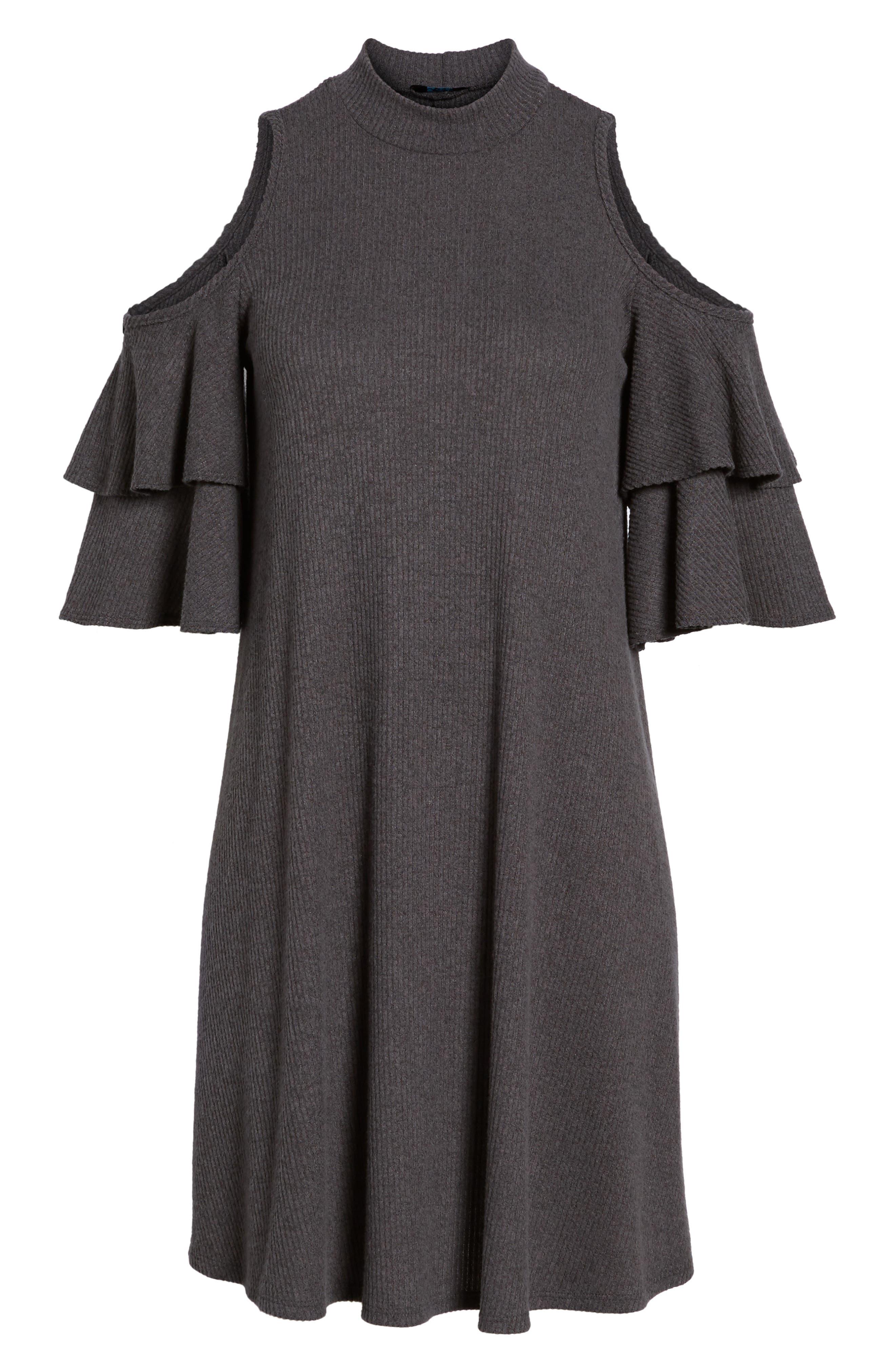 Ruffle Cold Shoulder Shift Dress,                             Alternate thumbnail 6, color,                             Charcoal