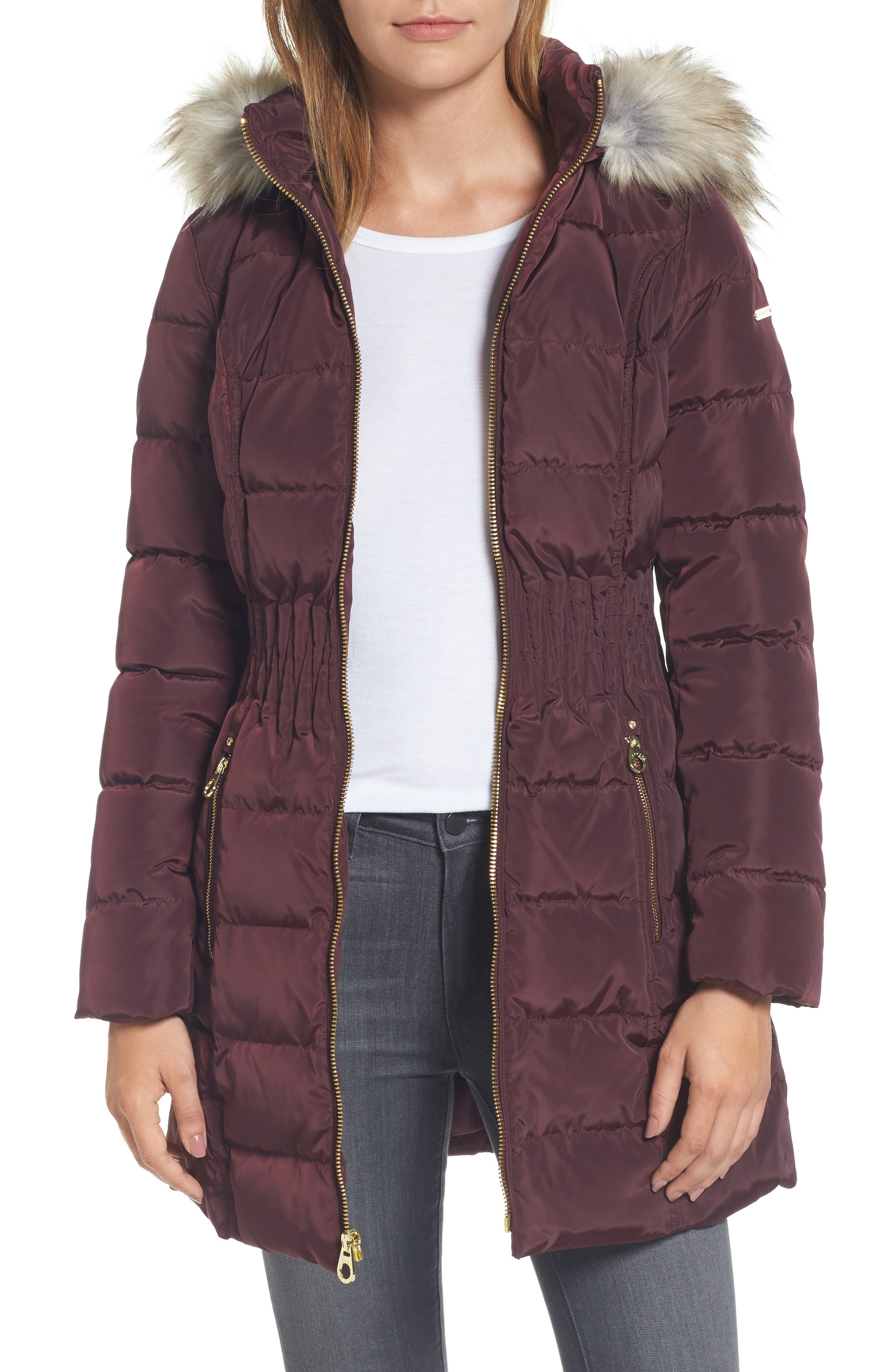 Hooded Quilted Jacket with Faux Fur Trim,                         Main,                         color, Port Royal