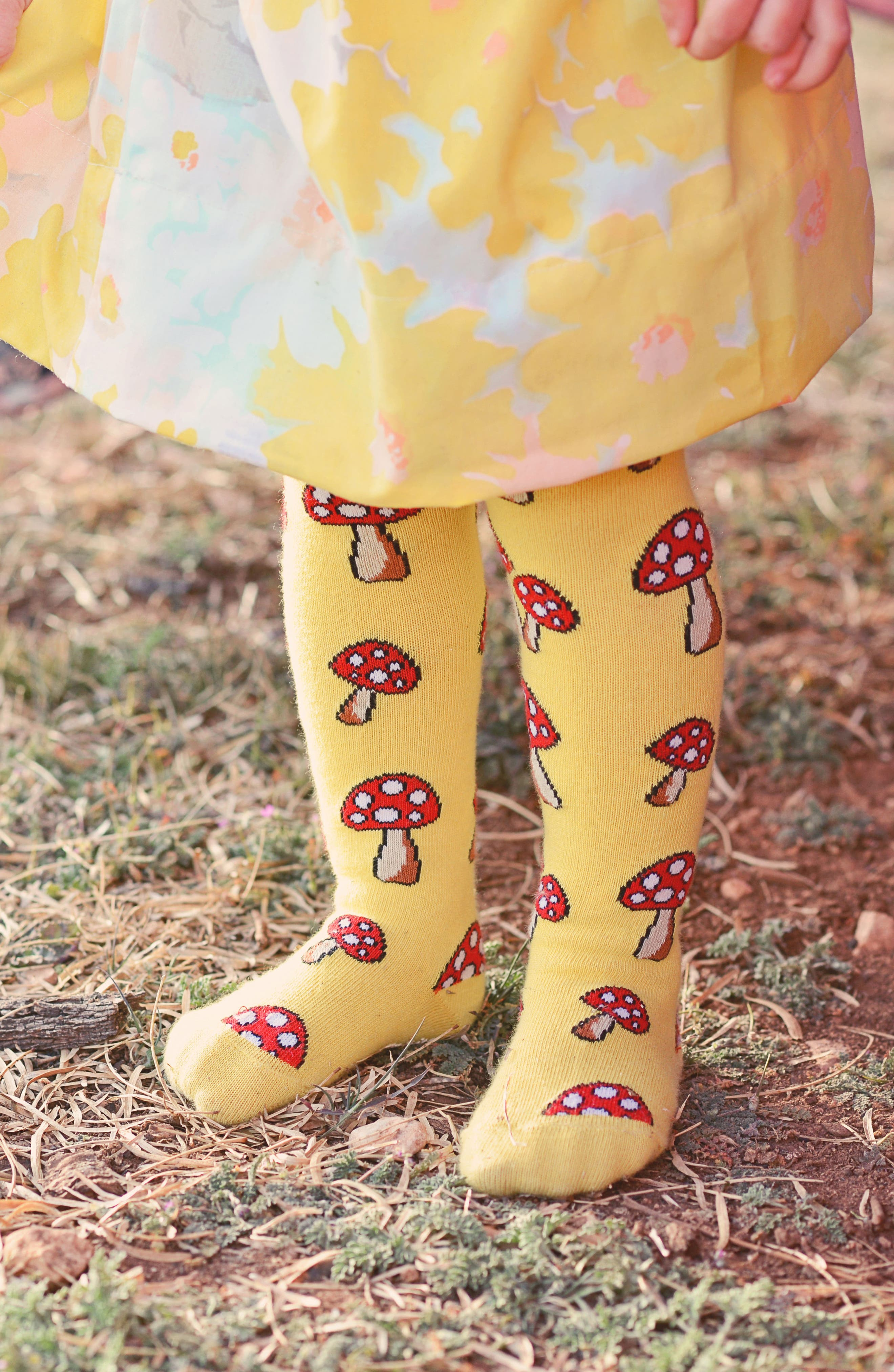 Toadstool Tights,                             Alternate thumbnail 3, color,                             Yellow