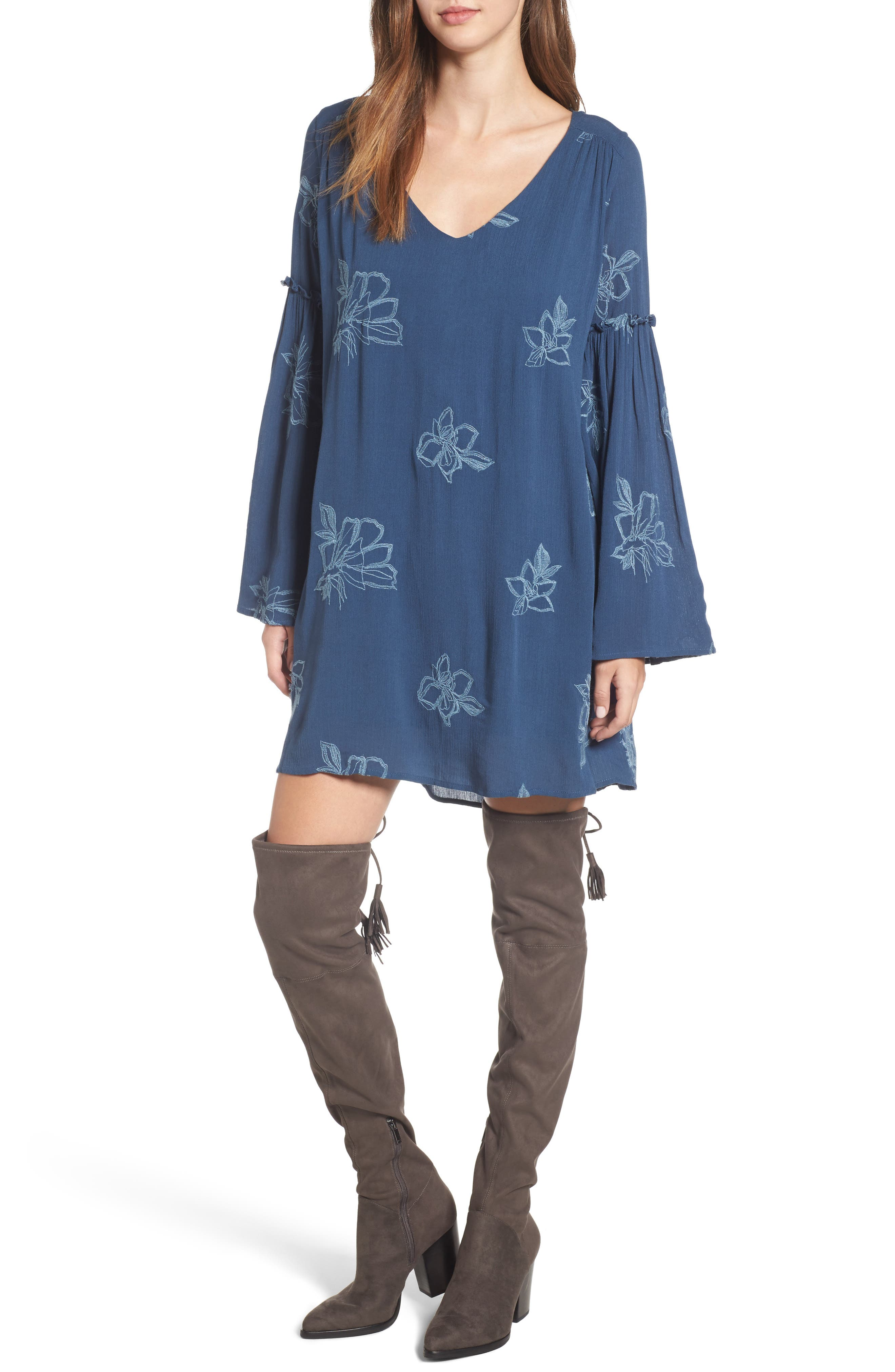 Autumn Embroidered Swing Dress,                             Main thumbnail 1, color,                             Blue