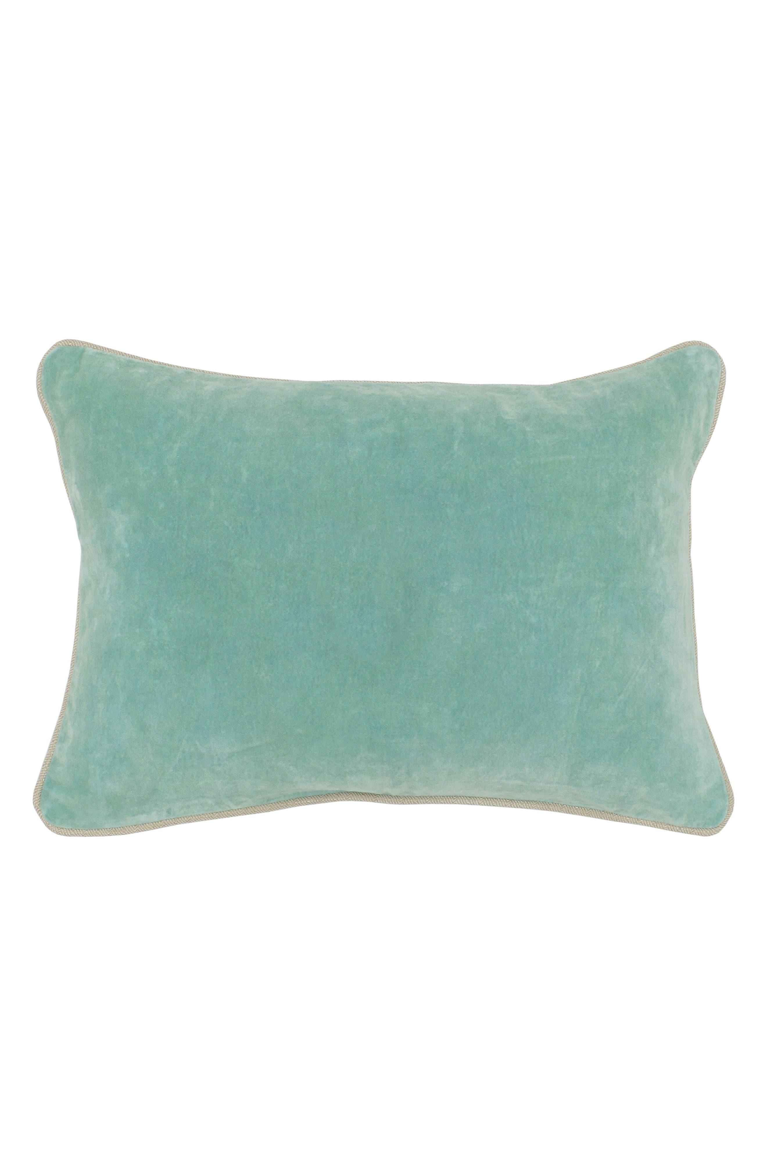 Heirloom Velvet Accent Pillow,                             Main thumbnail 1, color,                             Tidal Blue