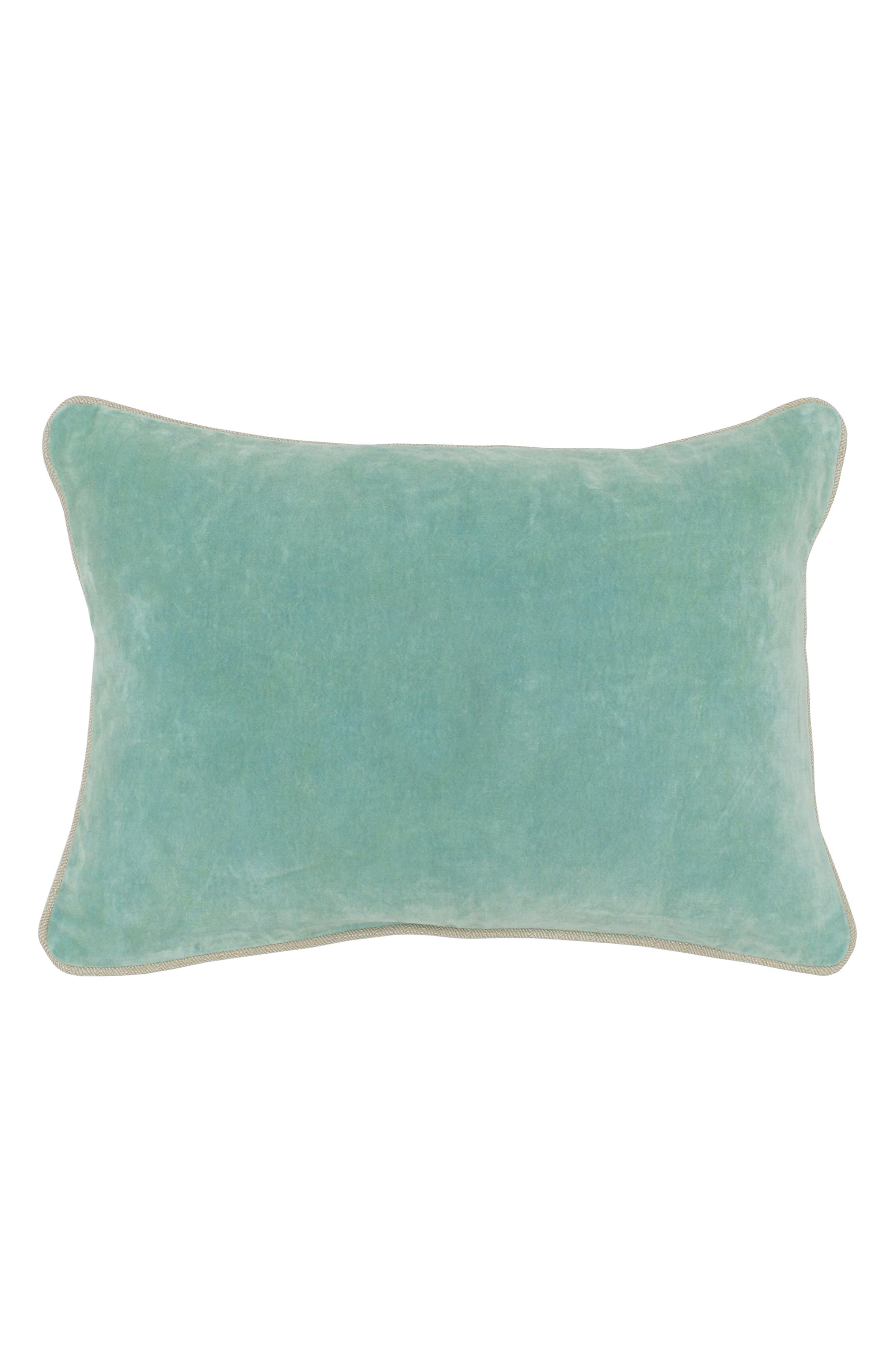 Heirloom Velvet Accent Pillow,                         Main,                         color, Tidal Blue
