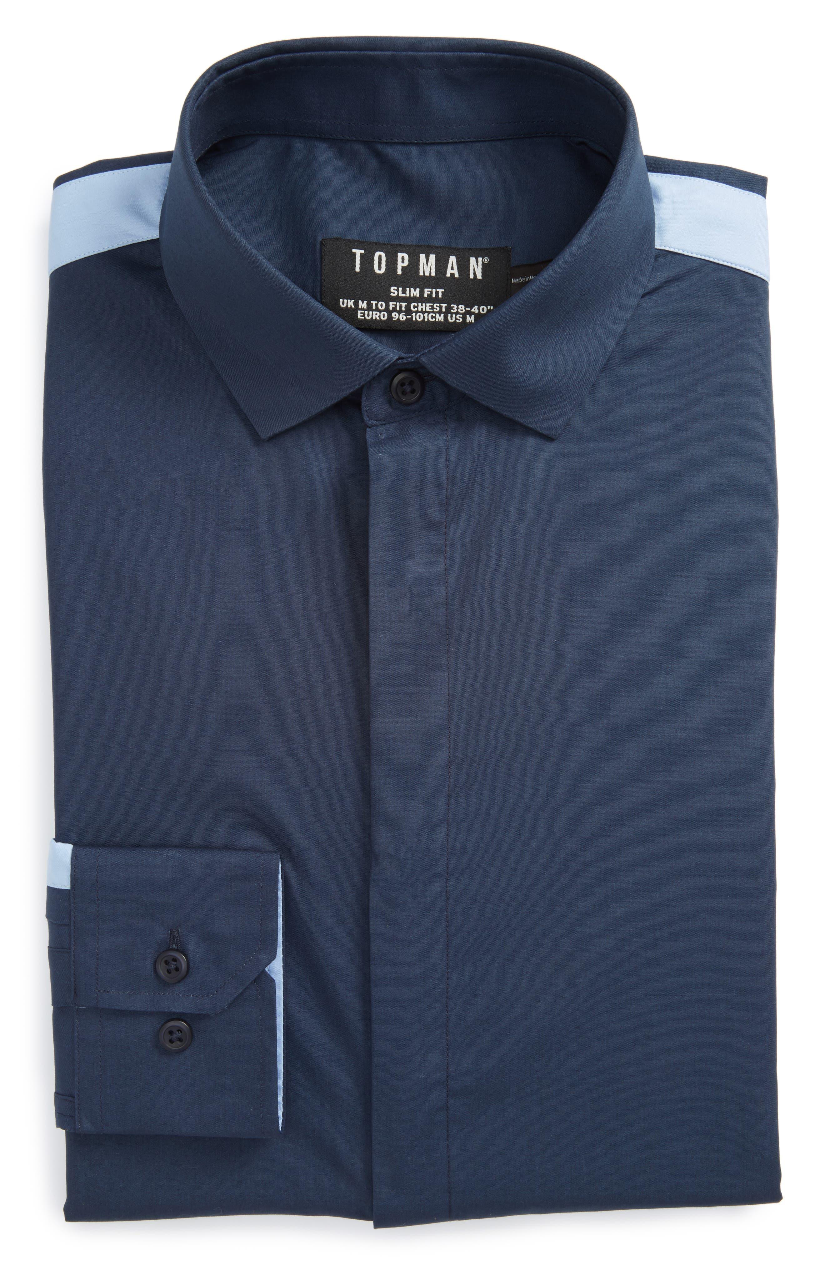 Slim Fit Contrast Stripe Woven Shirt,                         Main,                         color, Navy Blue