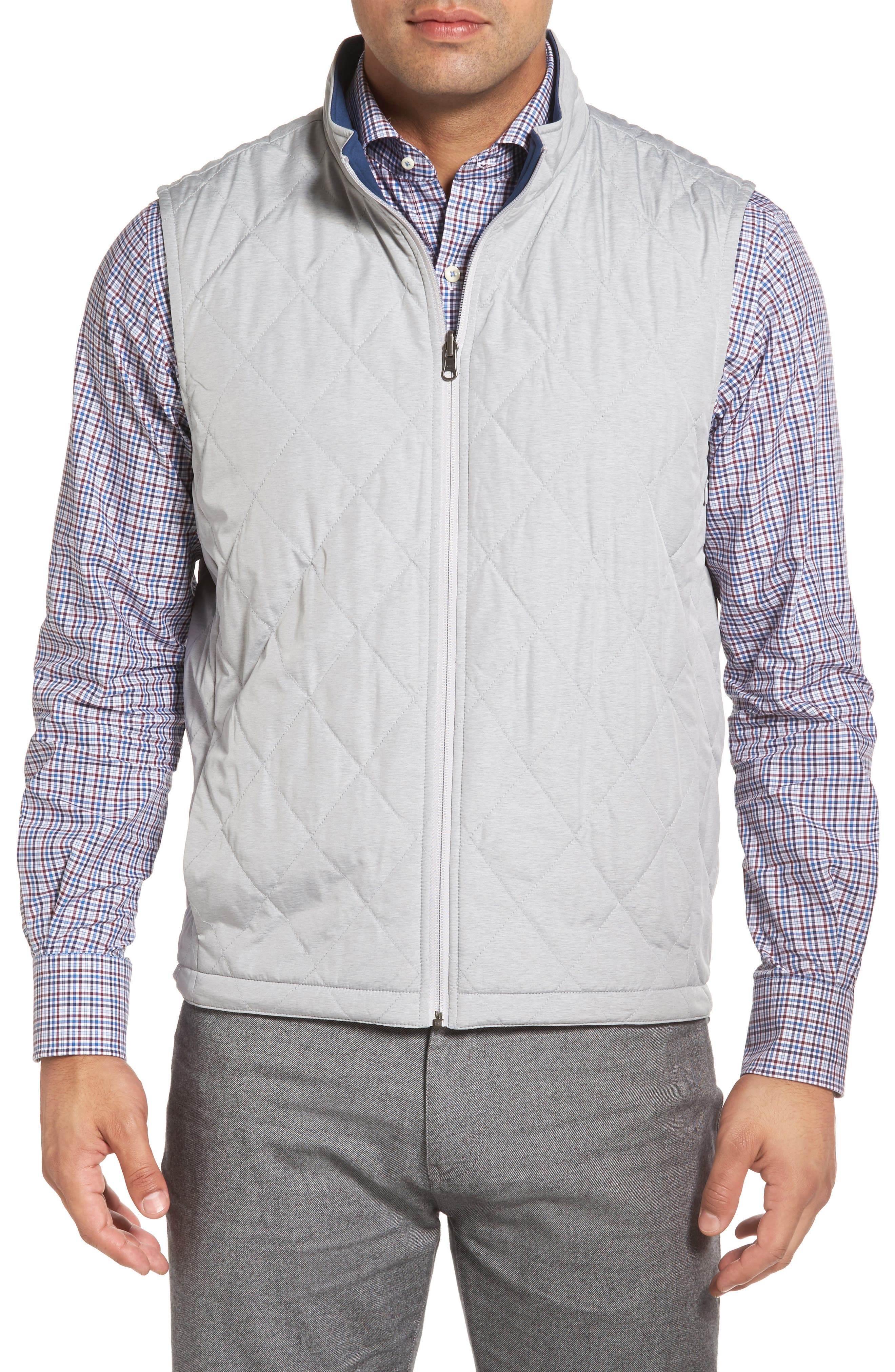 Mitchell Reversible Quilted Vest,                             Main thumbnail 1, color,                             British Grey