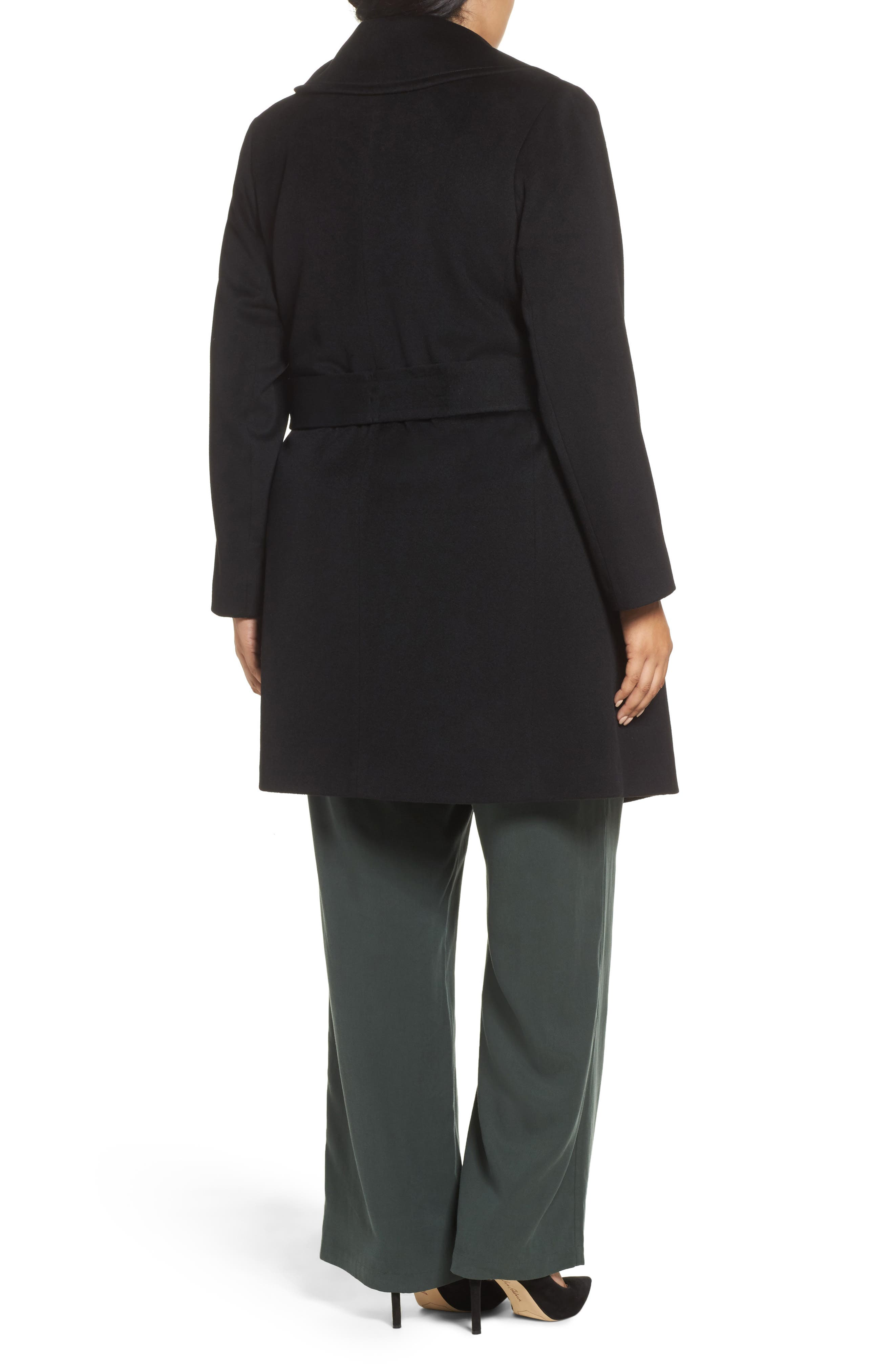 Alternate Image 2  - Fleurette Wool Wrap Coat (Plus Size)
