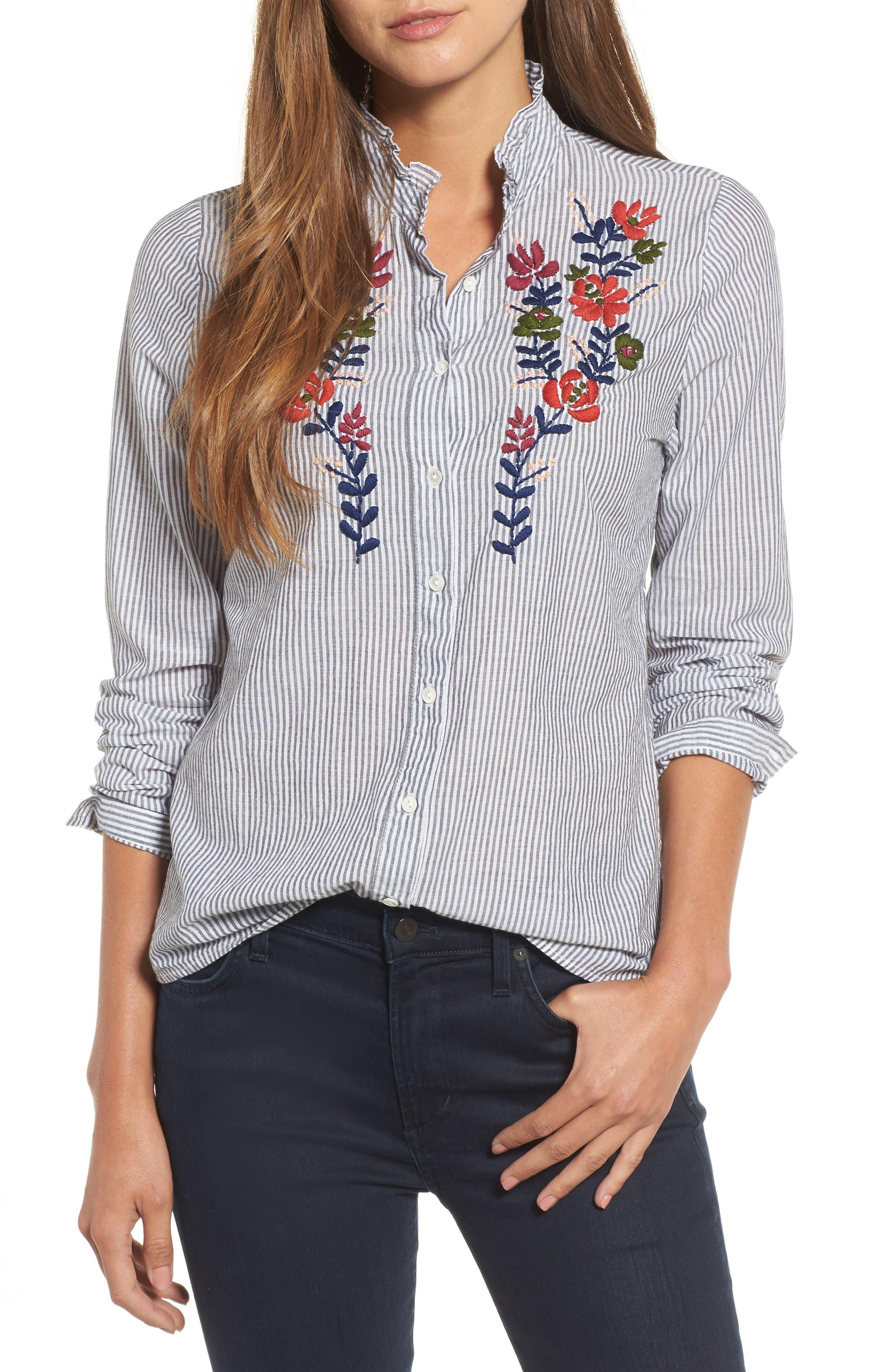 Alternate Image 1 Selected - Velvet Embroidered Stripe Shirt