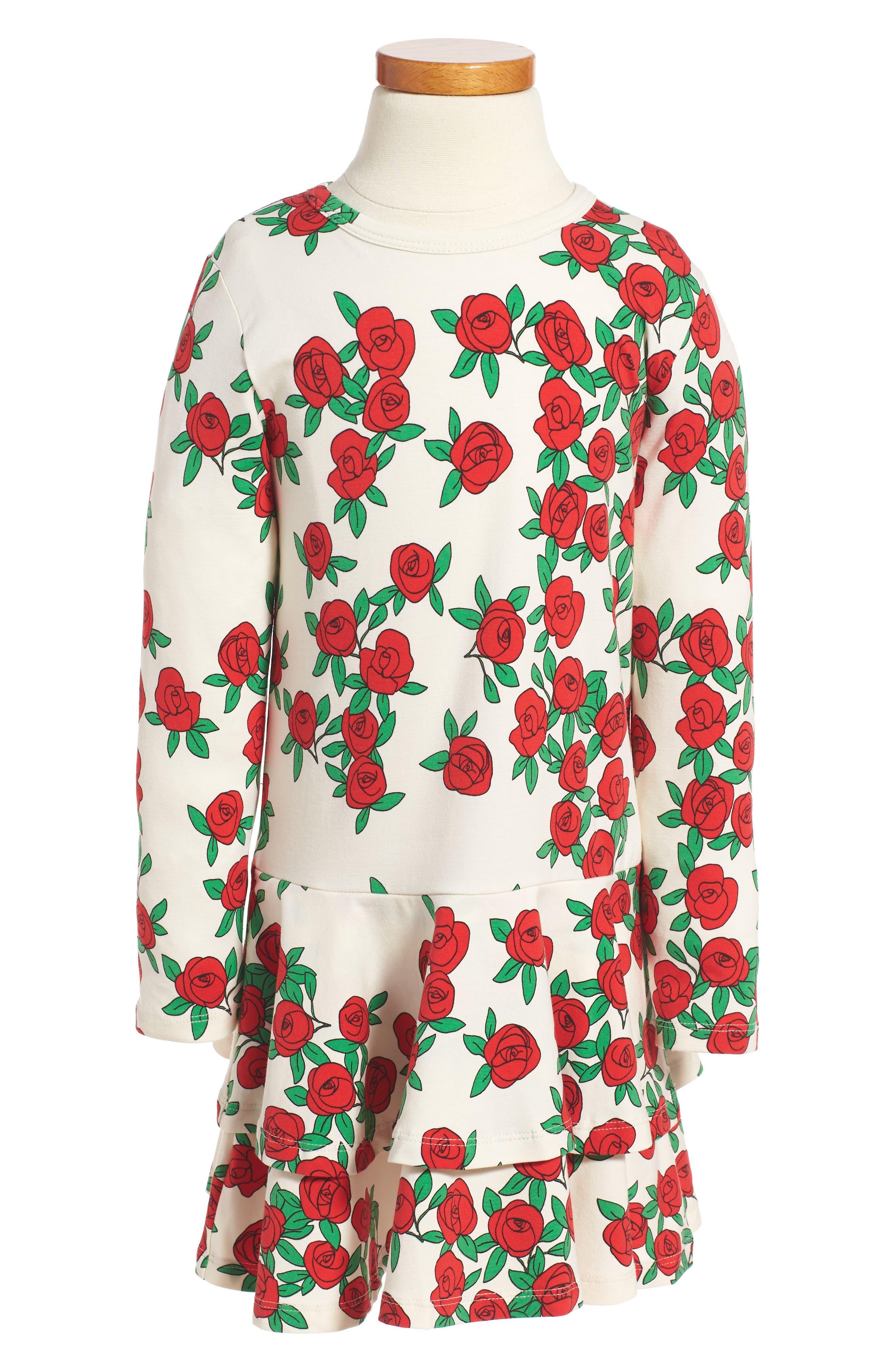 MINI RODINI Rose Print Drop Waist Dress