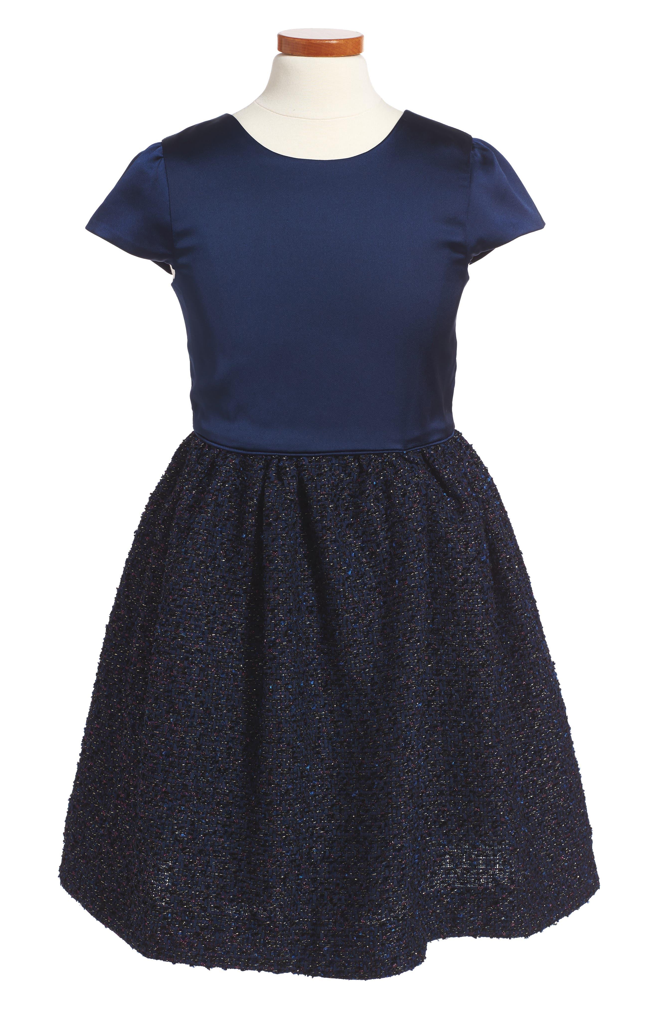 Satin Dress,                         Main,                         color, Navy Metalic