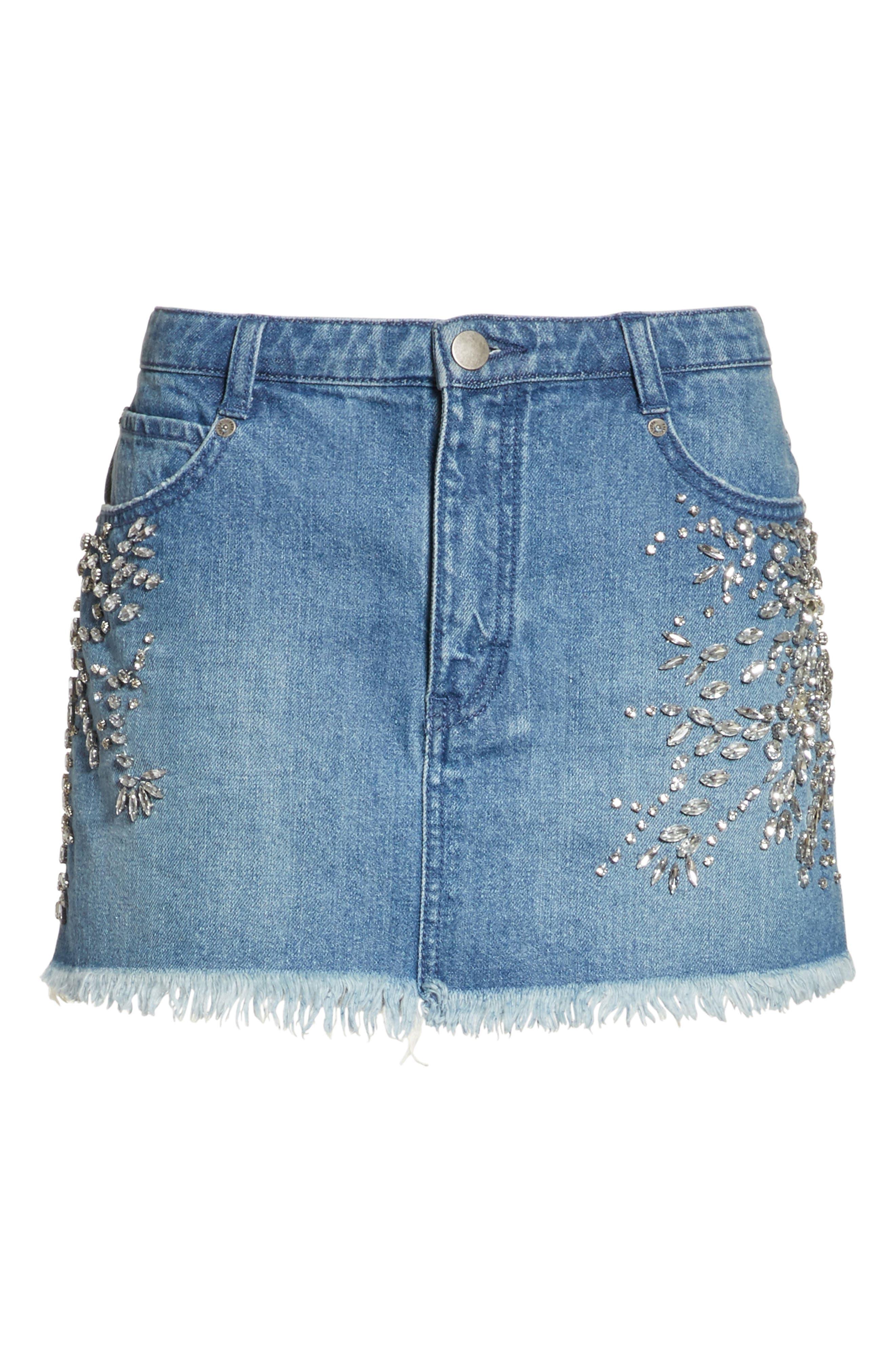 Alternate Image 6  - Free People Shine Bright Shine Far Cutoff Denim Miniskirt