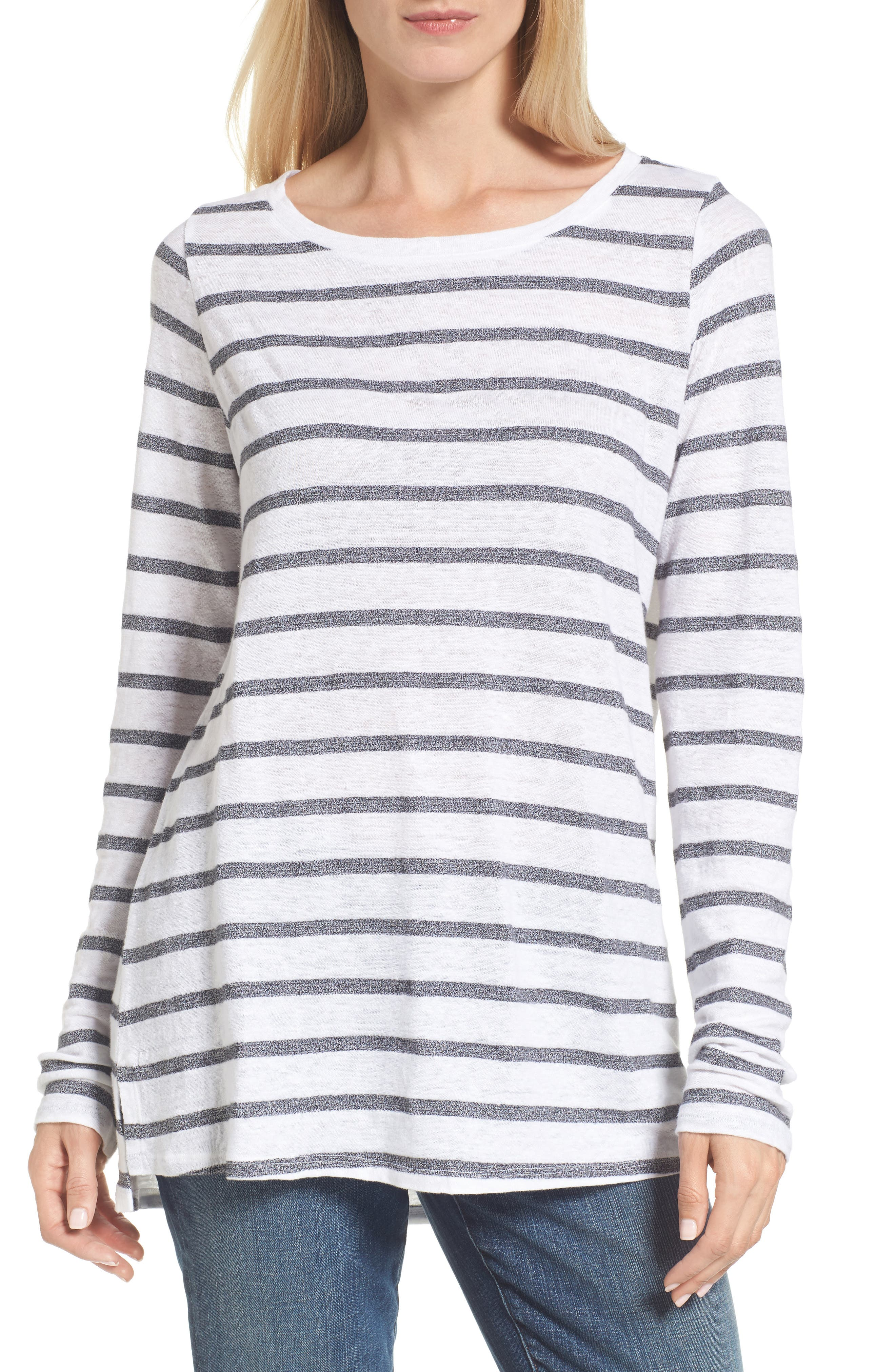 Main Image - Eileen Fisher Stripe Linen Blend Ballet Neck Top
