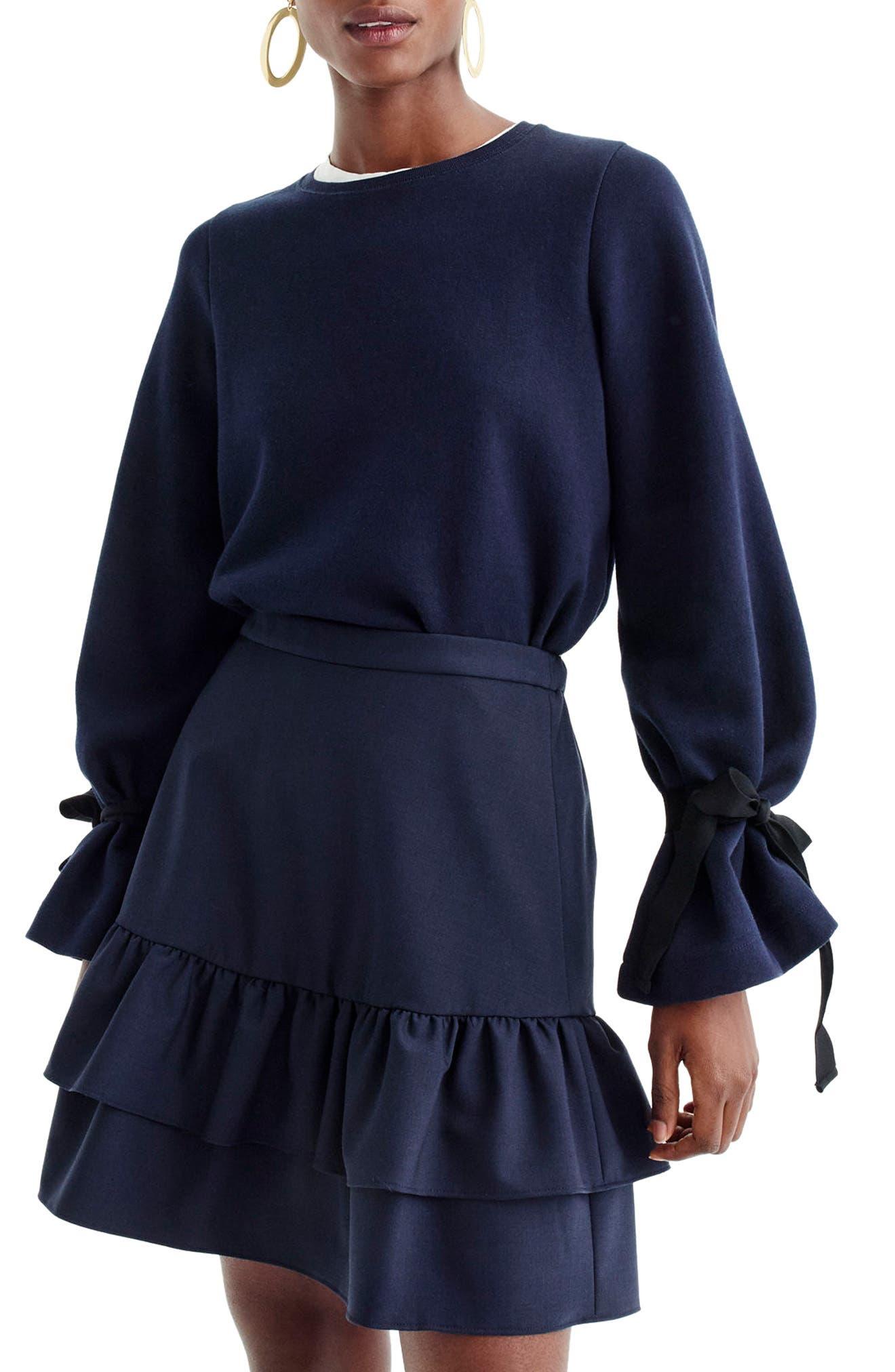 J.Crew Tie Sleeve Sweatshirt,                             Main thumbnail 1, color,                             Navy