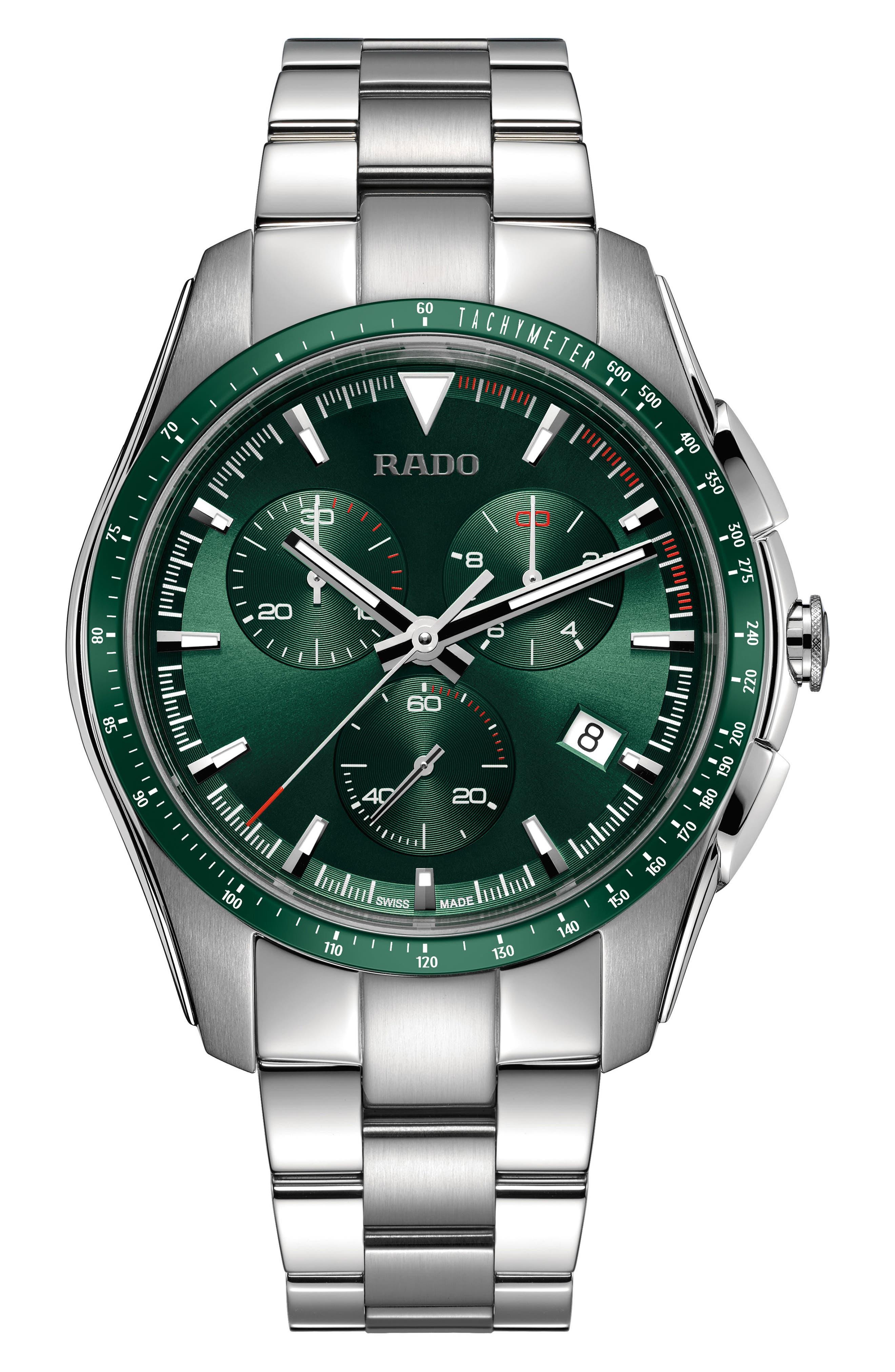 HyperChrome Chronograph Bracelet Watch, 44.9mm,                         Main,                         color, Silver/ Green/ Silver