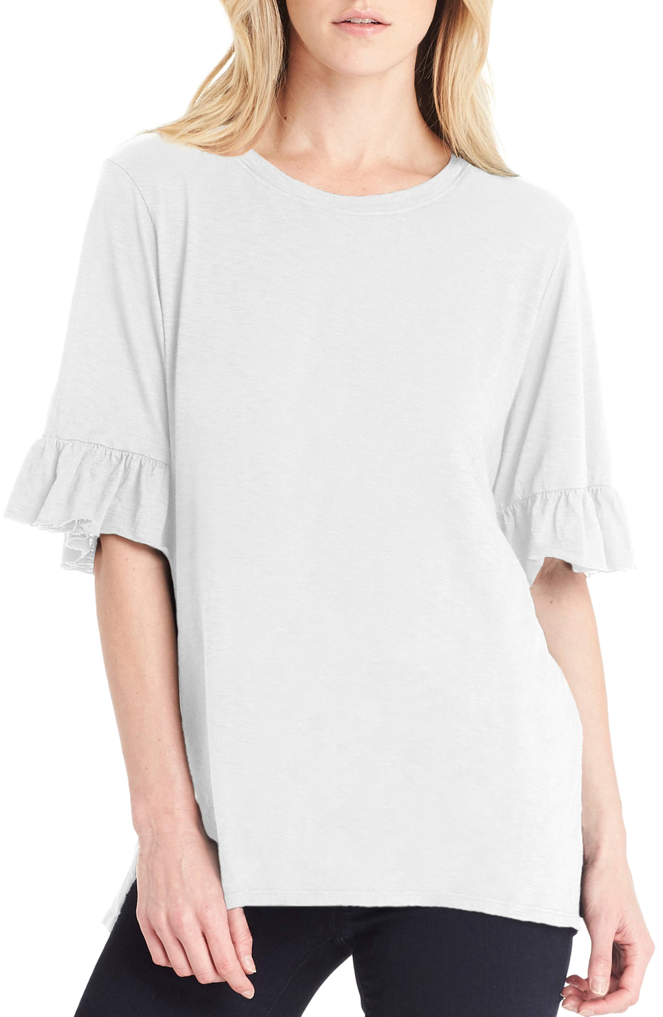 Ruffle Sleeve Top,                         Main,                         color, White