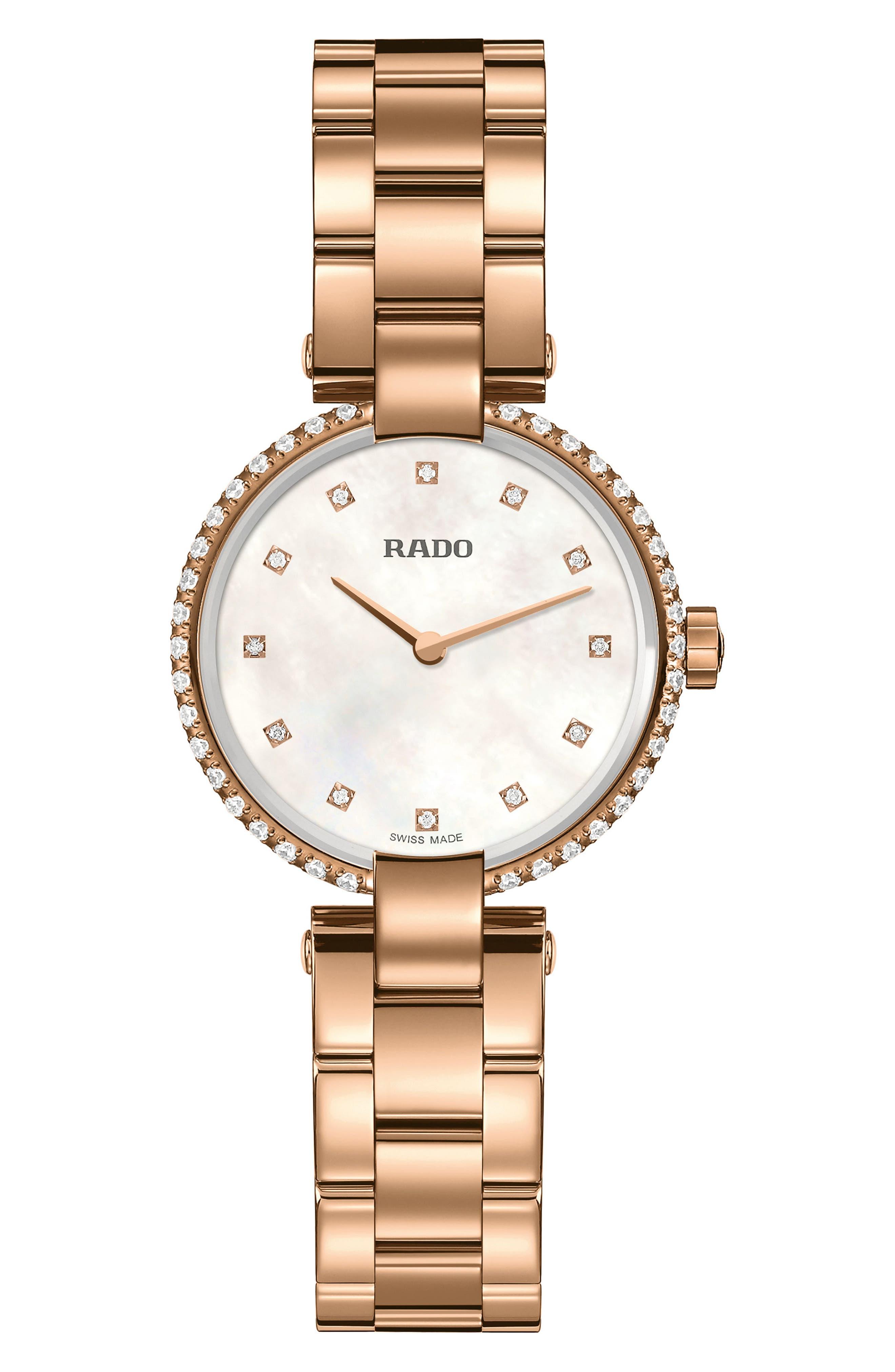 Coupole Diamonds Bracelet Watch, 28mm,                         Main,                         color, Rose Gold/ Mop/ Rose Gold