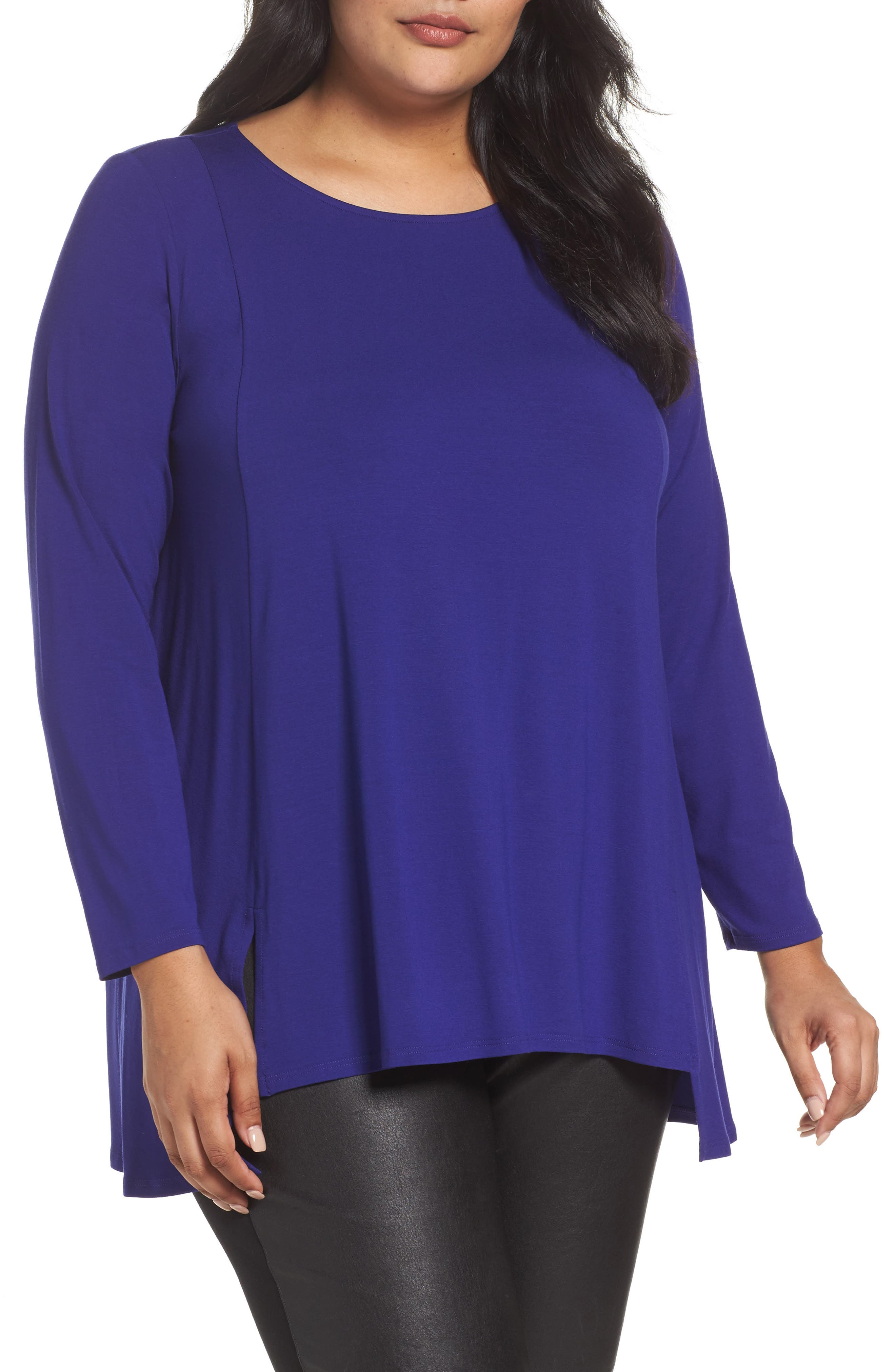 Alternate Image 1 Selected - Eileen Fisher Round Neck Tunic (Plus Size)