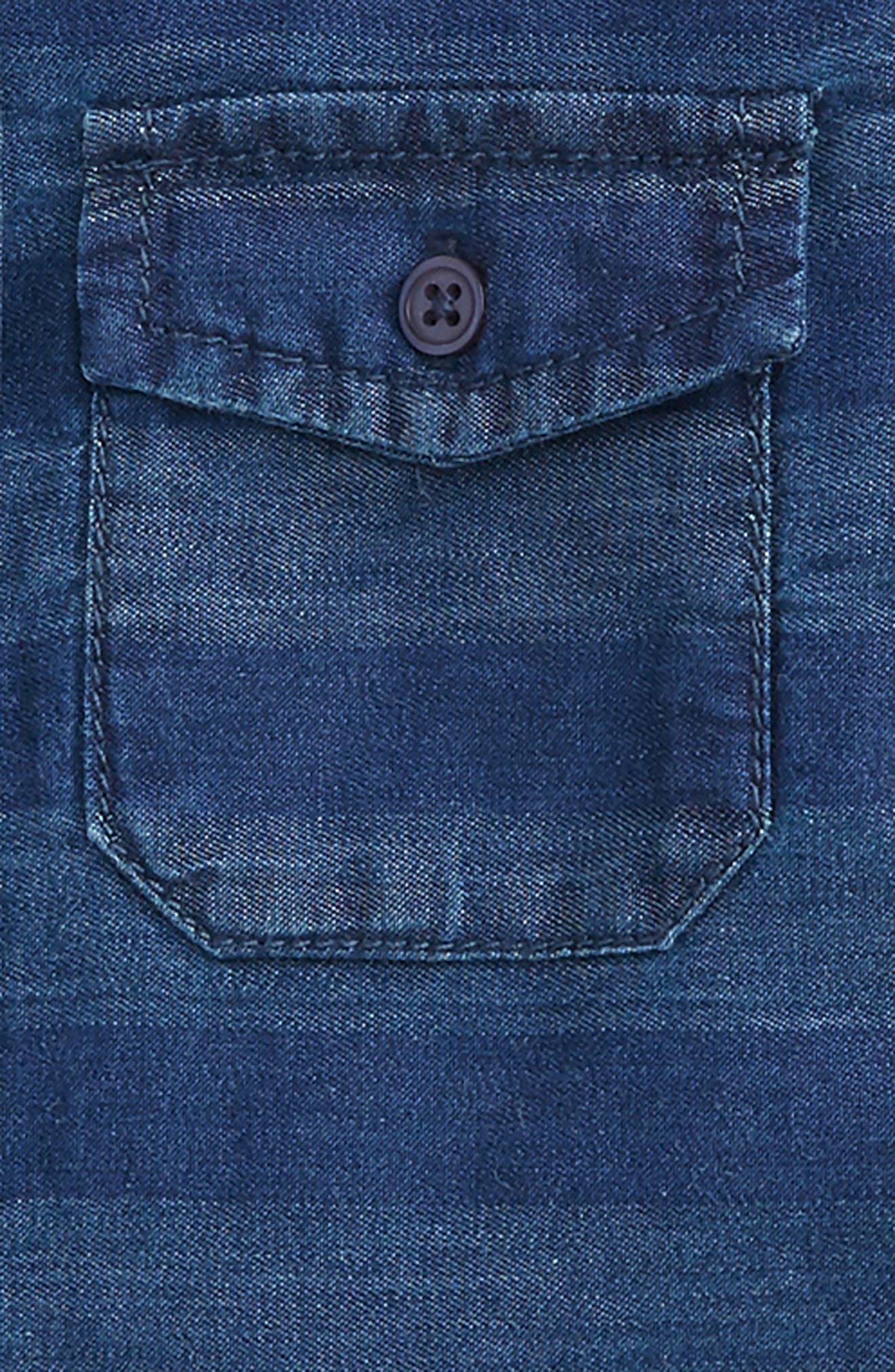 Alternate Image 2  - Peek Aiden Stripe Chambray Shirt (Baby Boys)