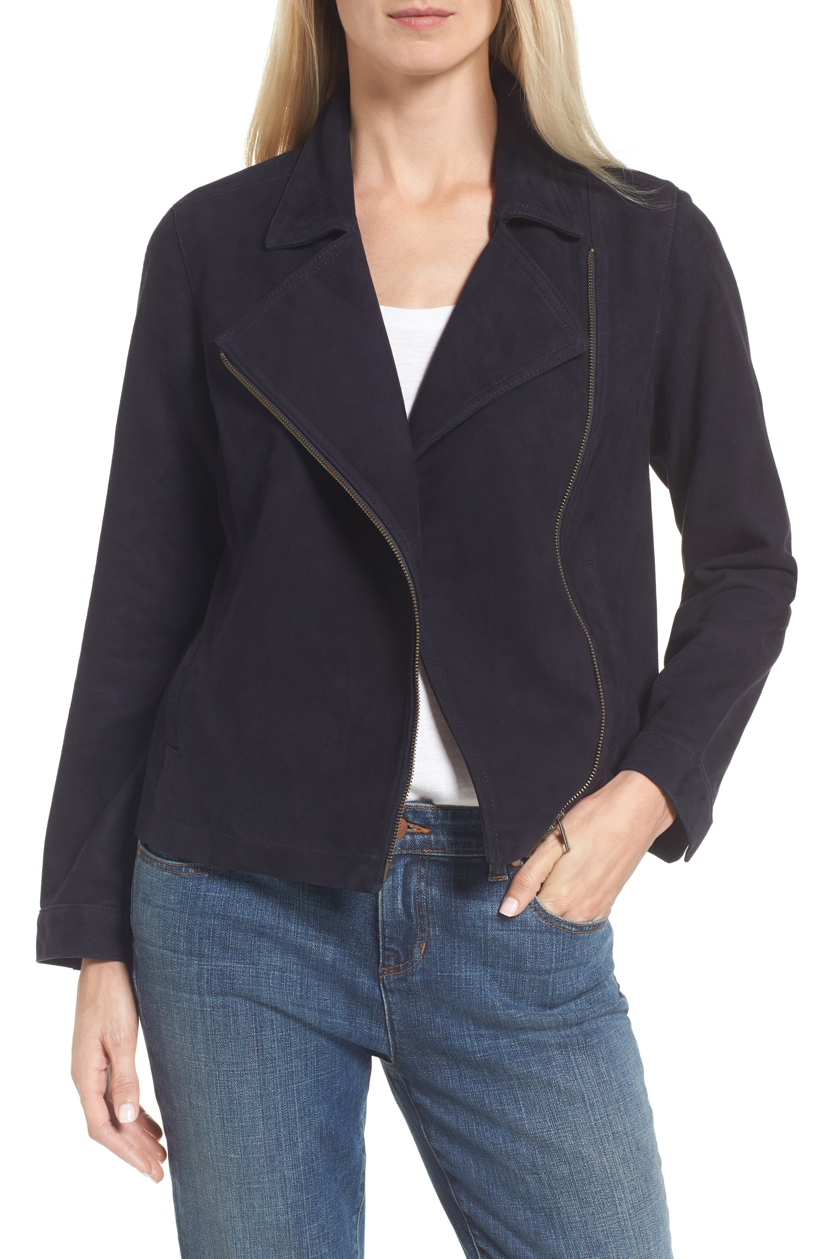 Asymmetrical Zip Suede Jacket,                             Main thumbnail 1, color,                             Ink