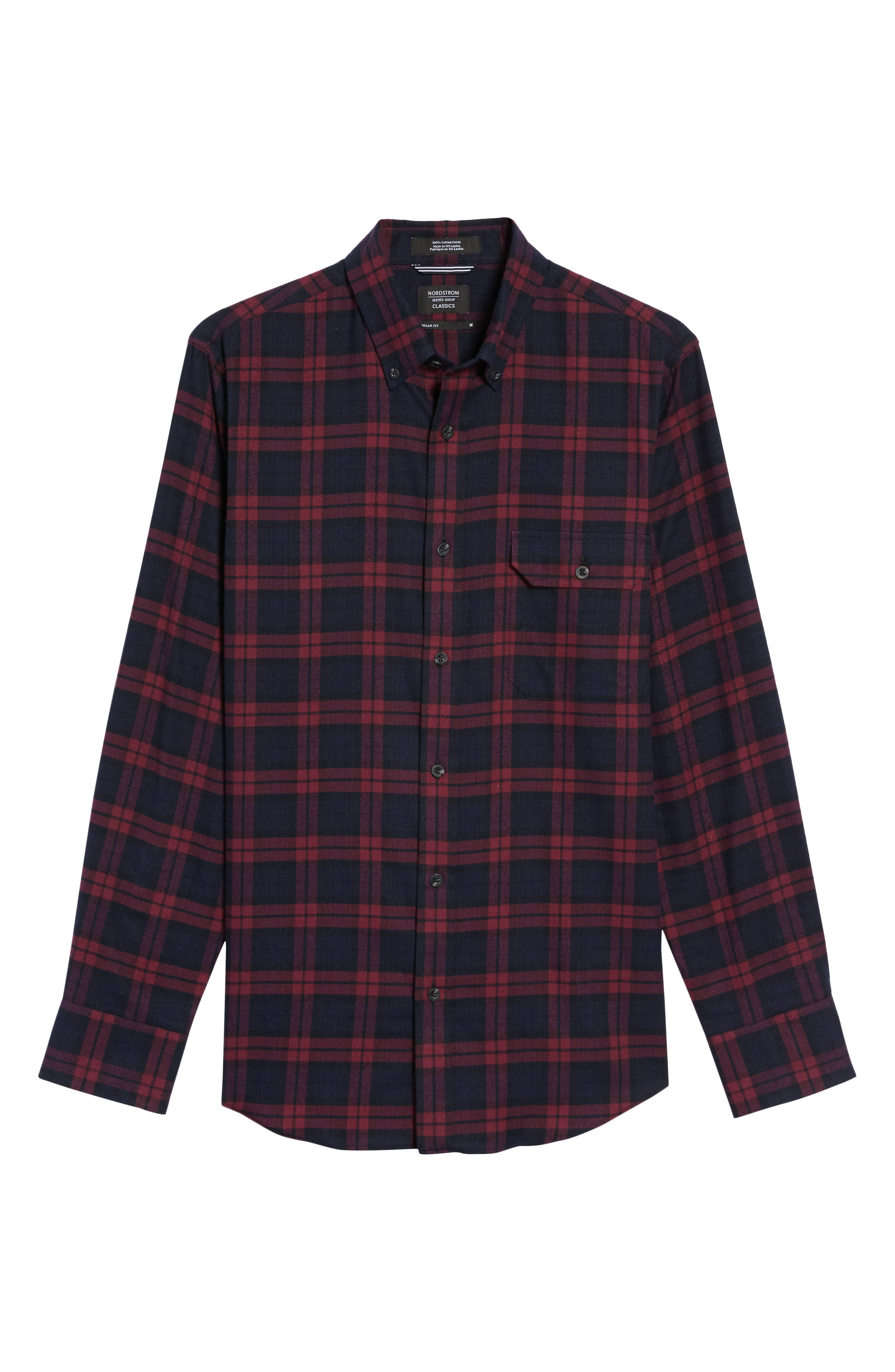 Regular Fit Plaid Sport Shirt,                             Alternate thumbnail 6, color,                             Red Chili Plaid Flannel