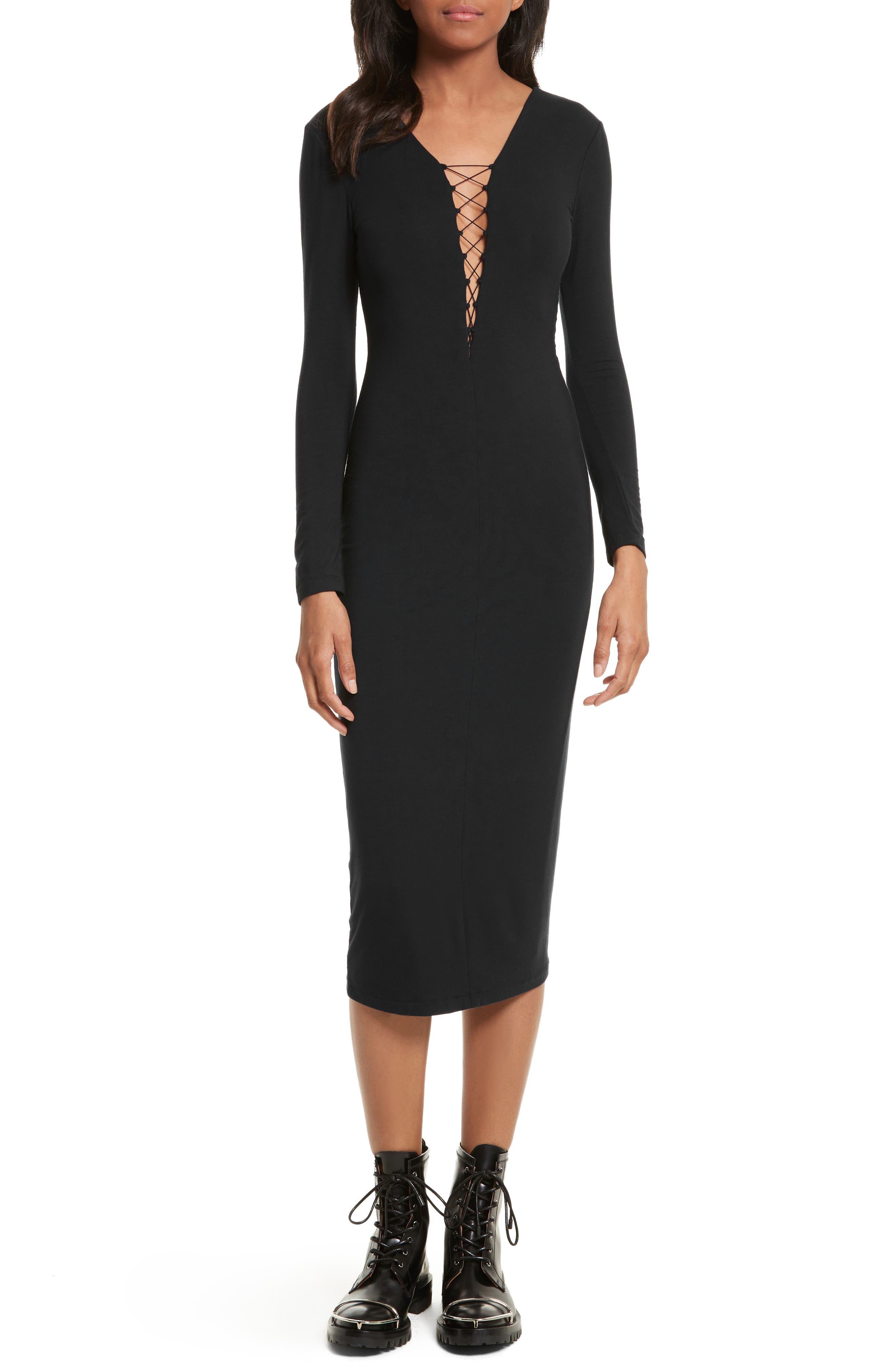 Lace-Up Stretch Jersey Midi Dress,                         Main,                         color, Black