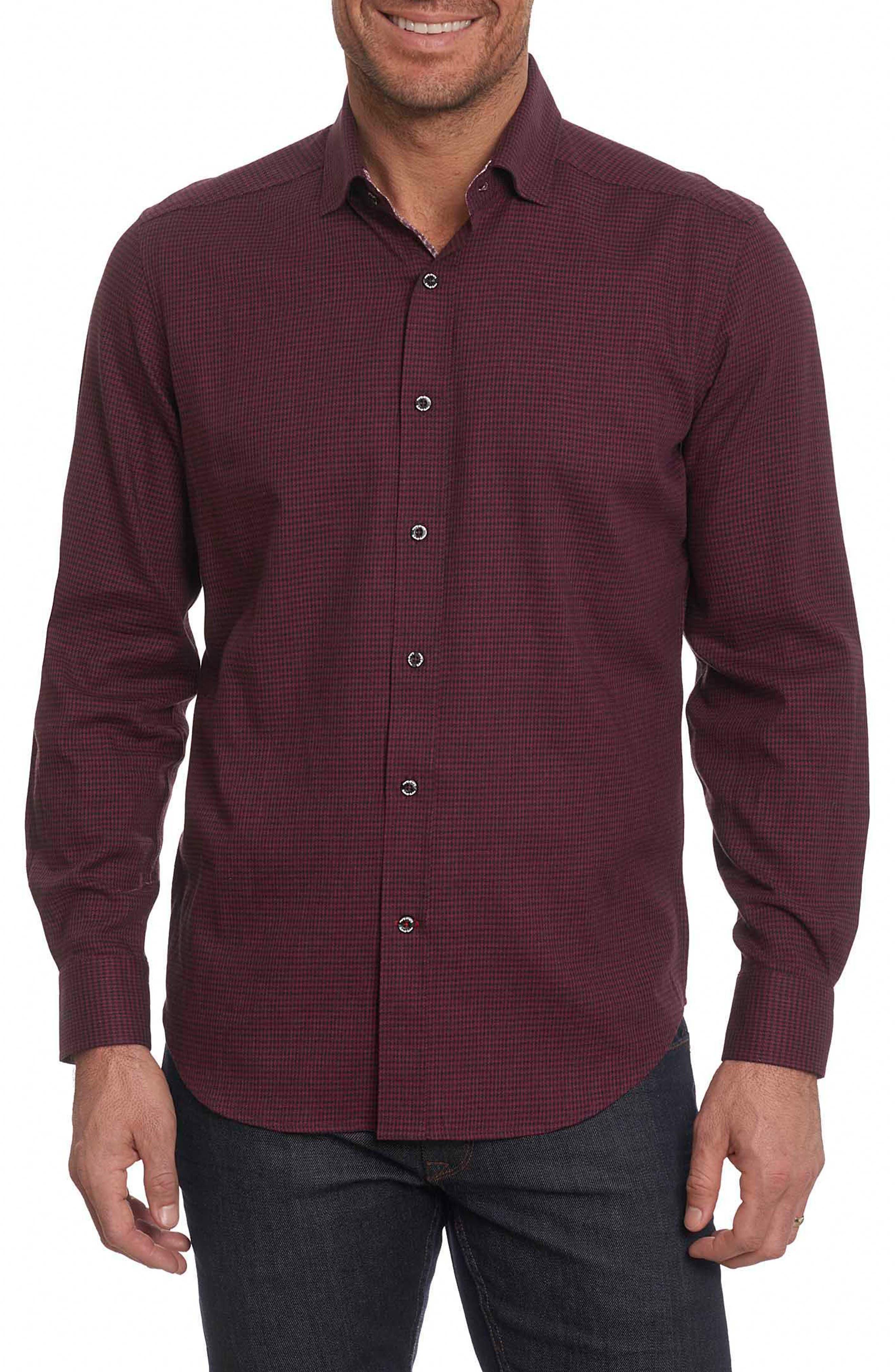 Colin Tailored Fit Sport Shirt,                         Main,                         color, Bordeaux