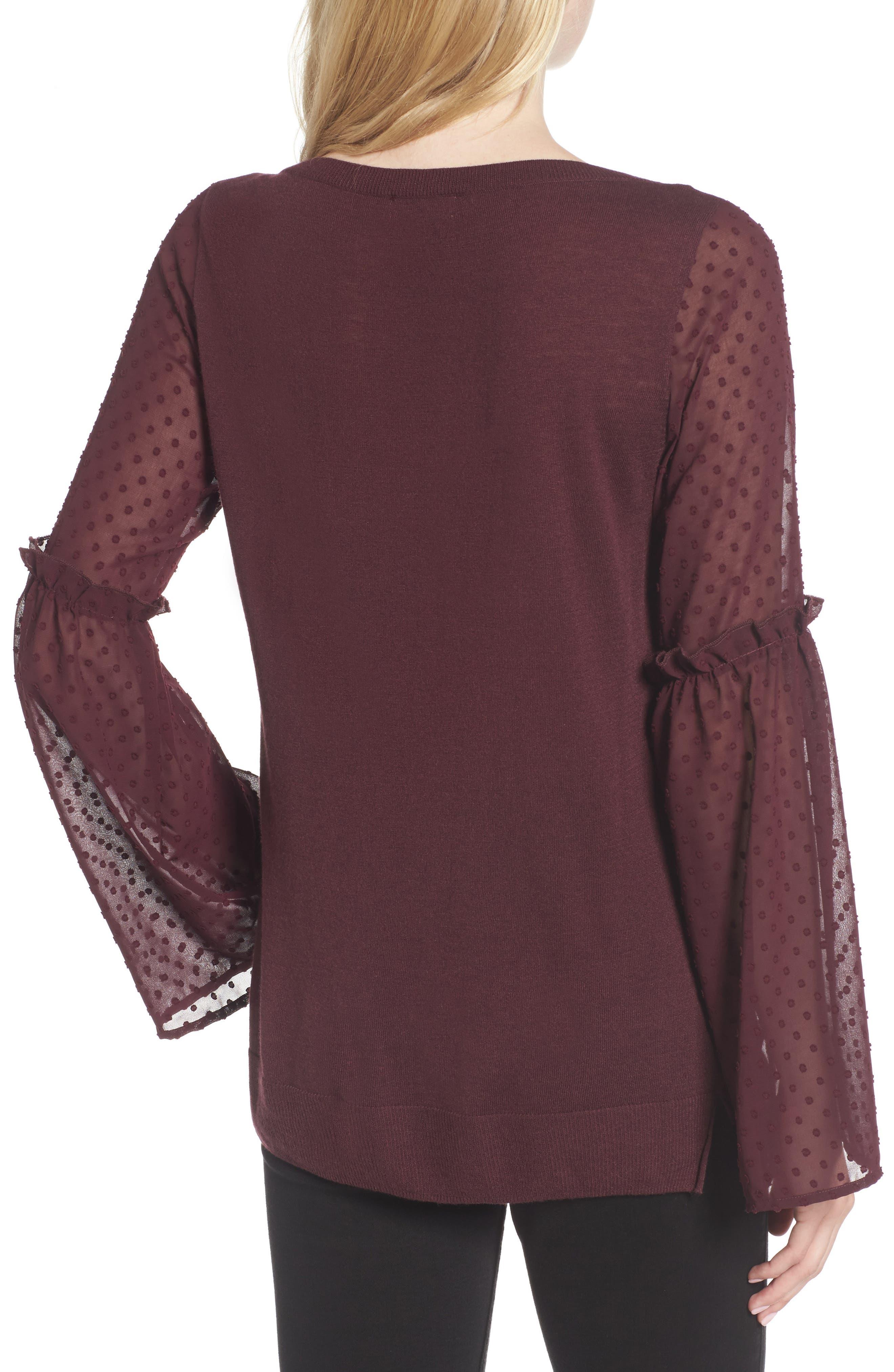 Bell Sleeve Sweater,                             Alternate thumbnail 2, color,                             Burgundy Stem