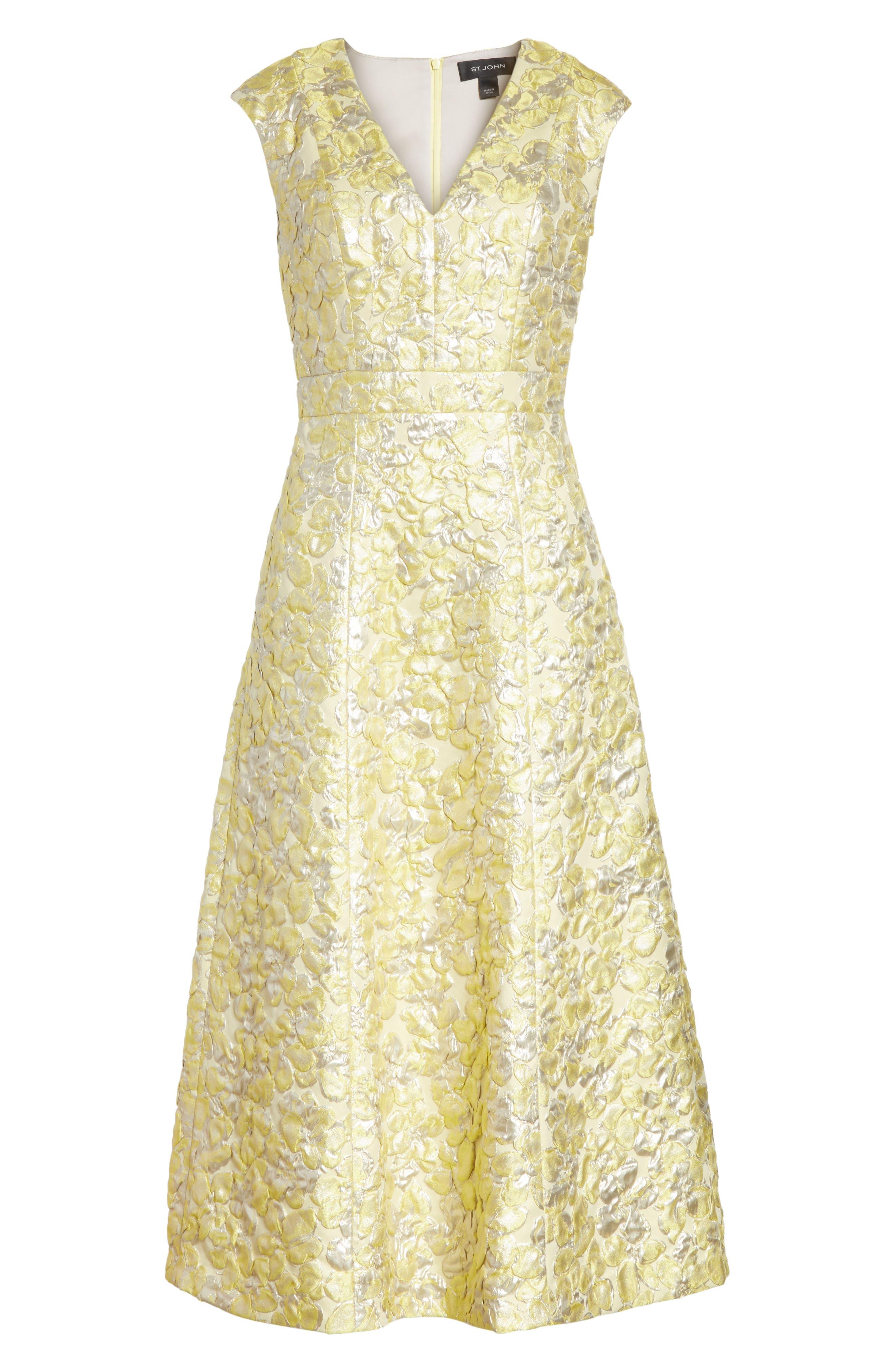 Metallic Floral Jacquard Dress,                             Alternate thumbnail 6, color,                             Lemon Multi