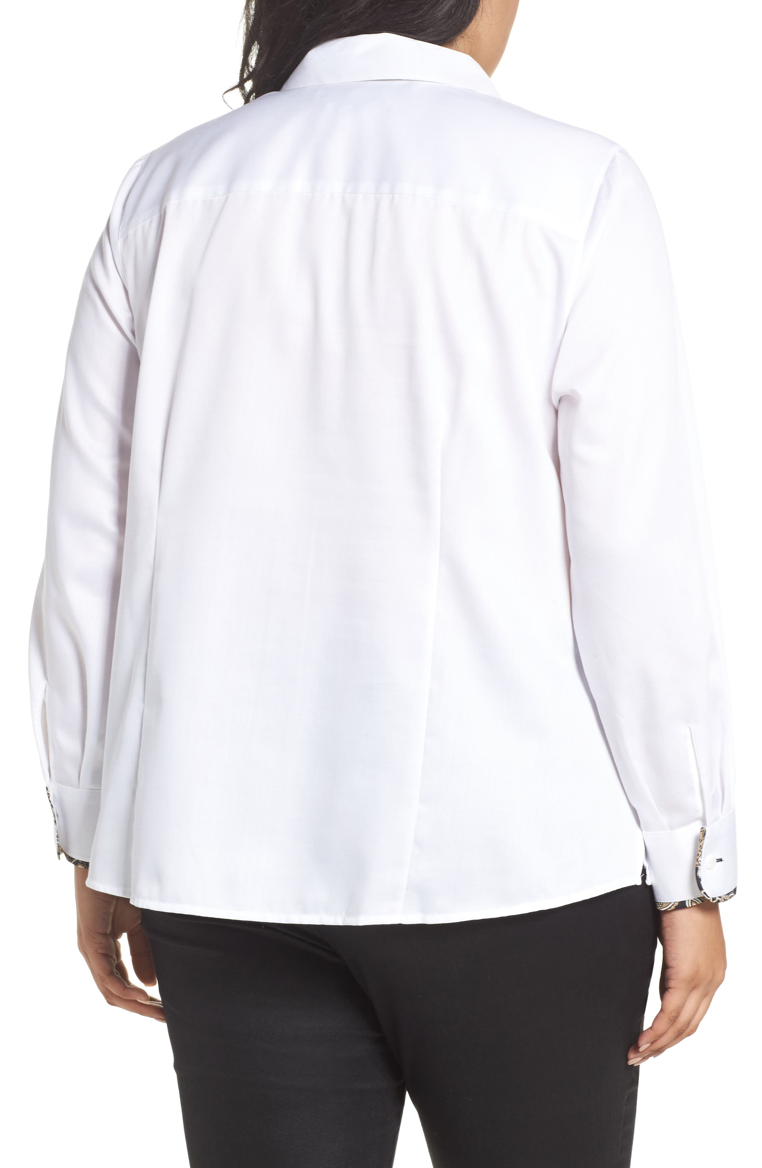 Brooke Contrast Trim Sateen Shirt,                             Alternate thumbnail 2, color,                             White