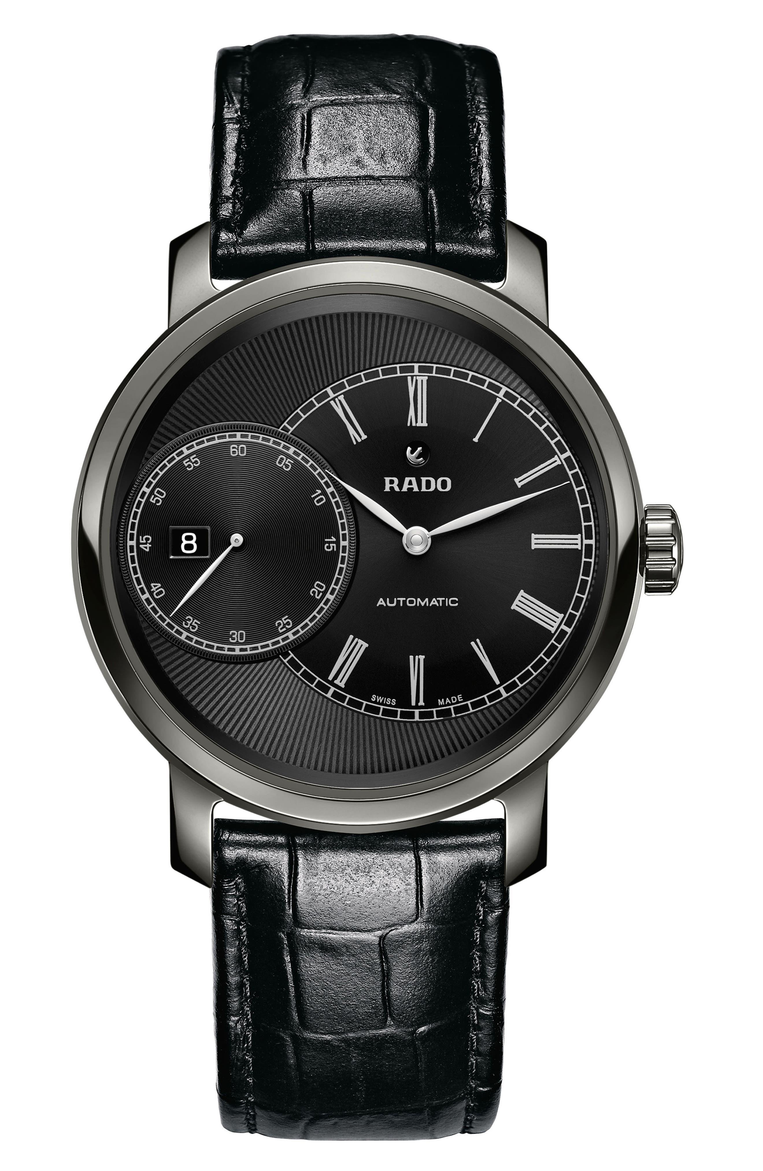 RADO DiaMaster Grande Seconde Automatic Leather Strap Watch, 43mm