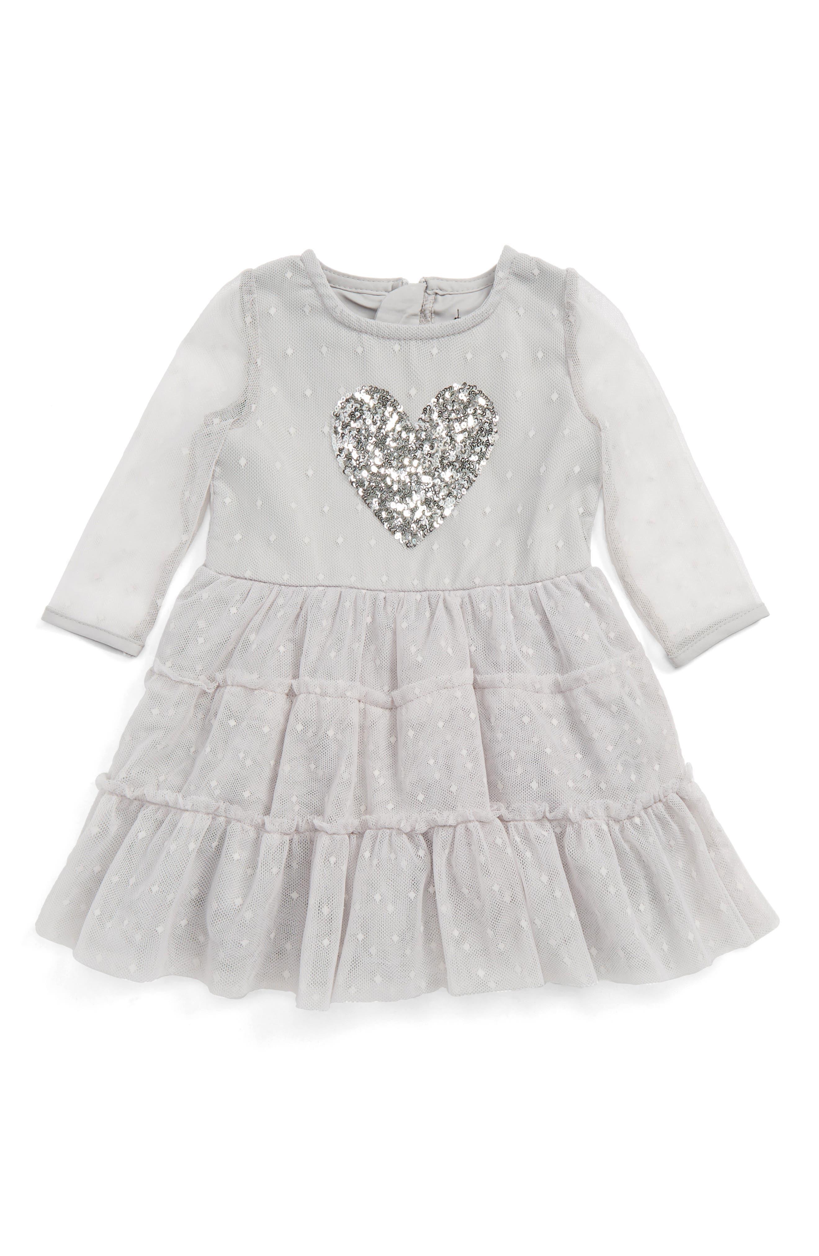 Bardot Junior Heart Appliqué Dress (Baby Girls & Toddler Girls)