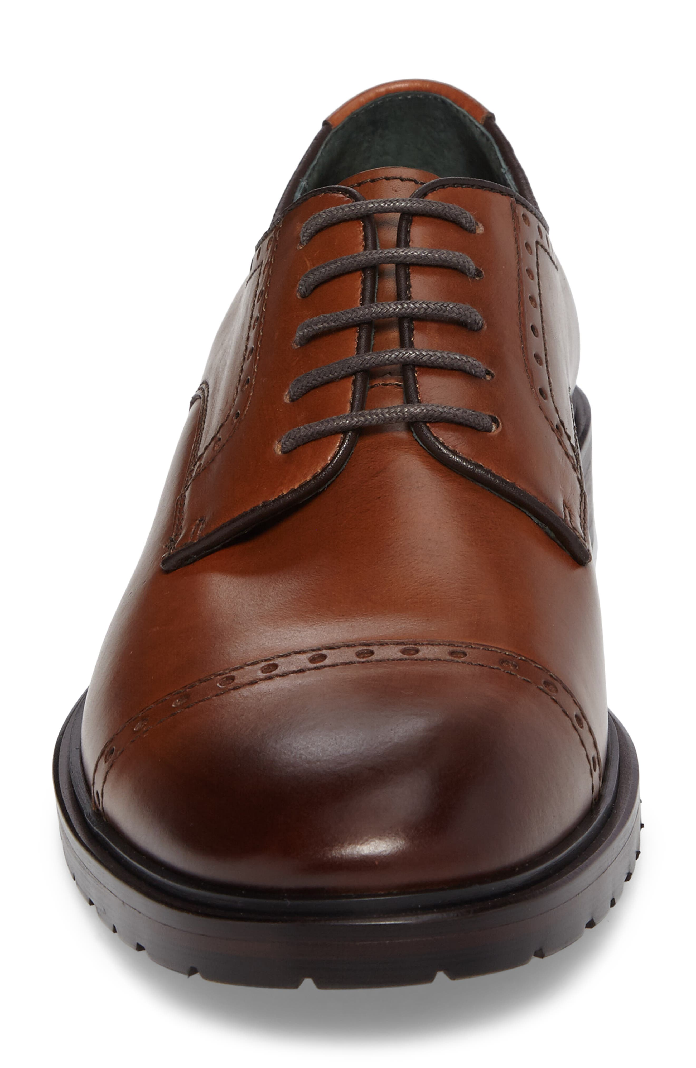 Myles Cap Toe Derby,                             Alternate thumbnail 4, color,                             Dark Cognac Leather
