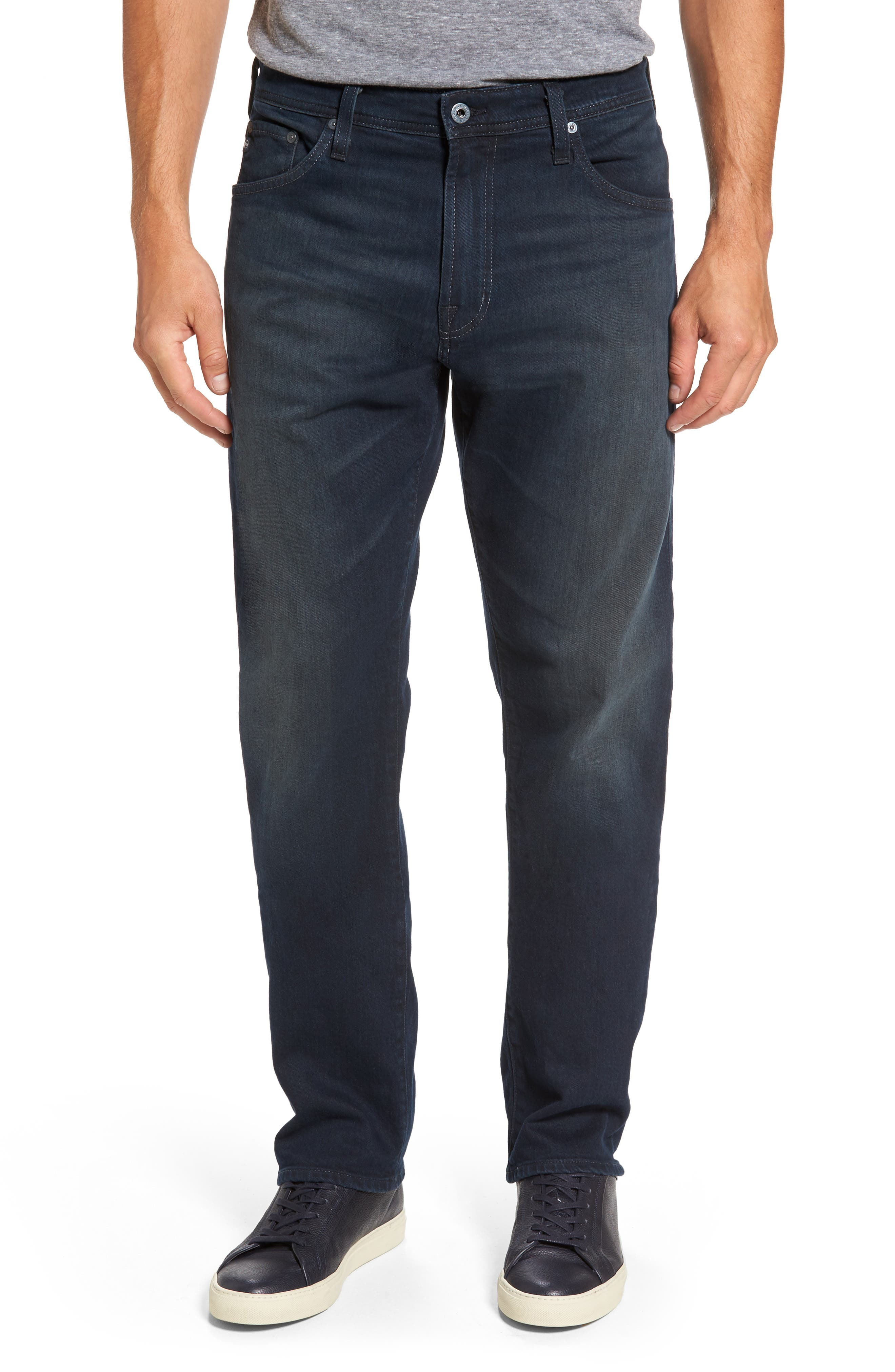 Main Image - AG Ives Straight Fit Jeans (Blue Smolder)